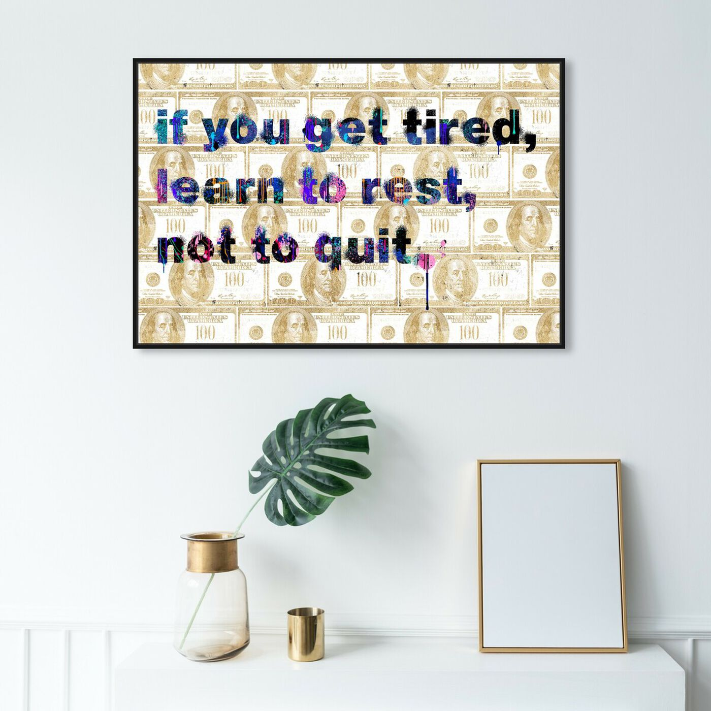 Hanging view of Learn to Rest featuring typography and quotes and motivational quotes and sayings art.