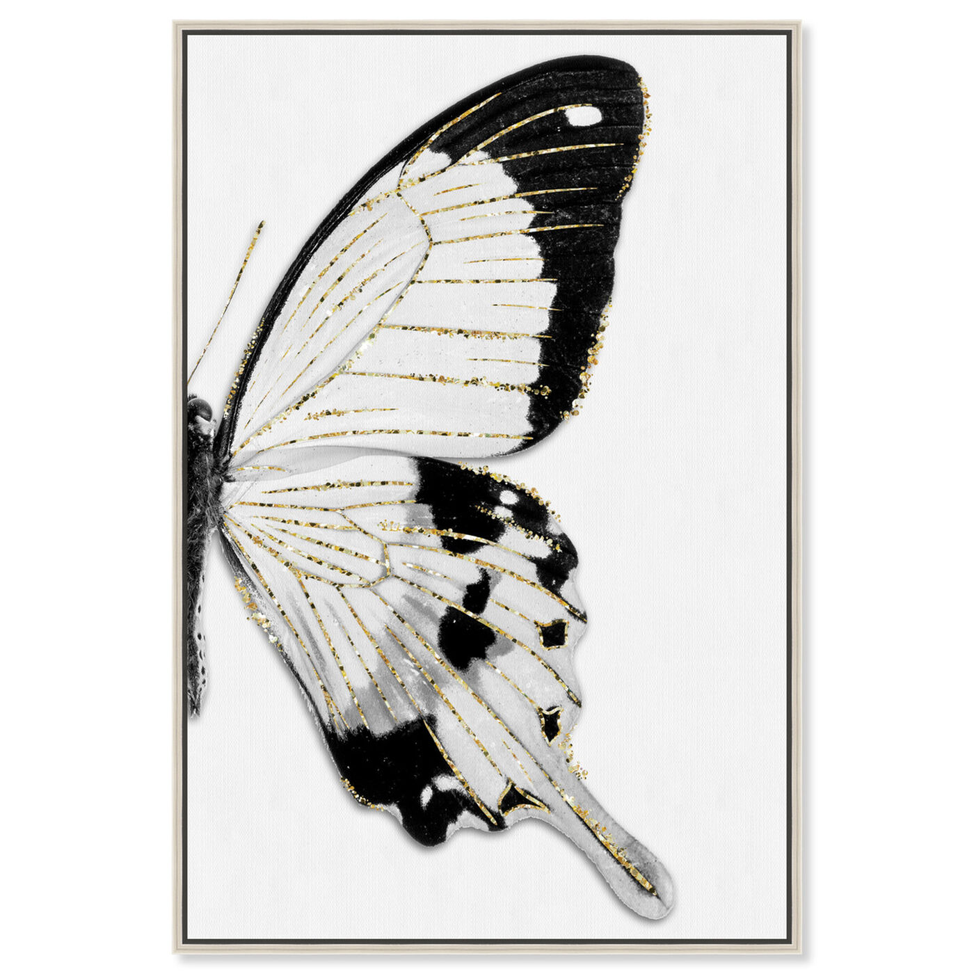 Front view of Monochrome Glitter Butterfly I featuring animals and insects art.