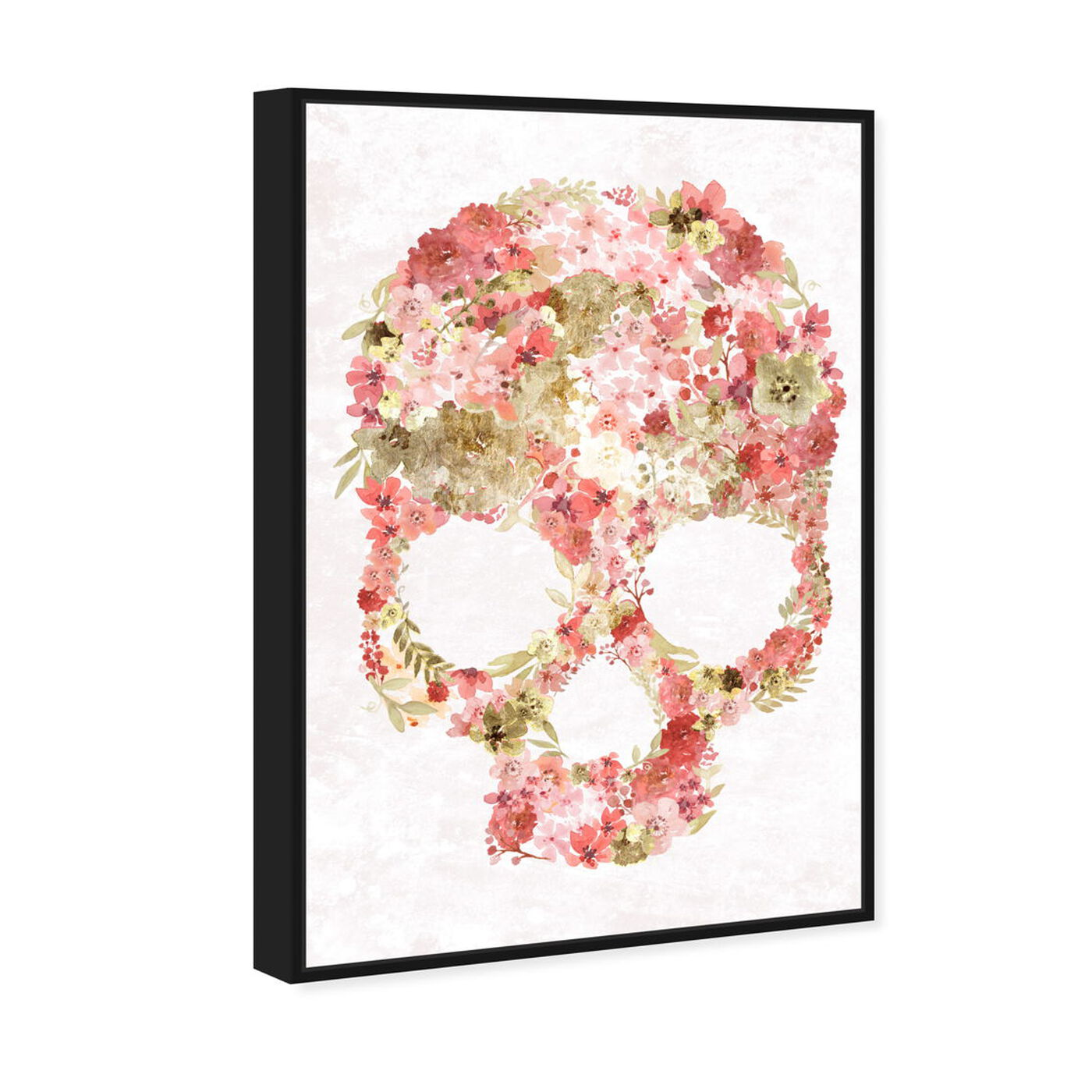 Angled view of Blush Floral Mindset Gold featuring floral and botanical and florals art.