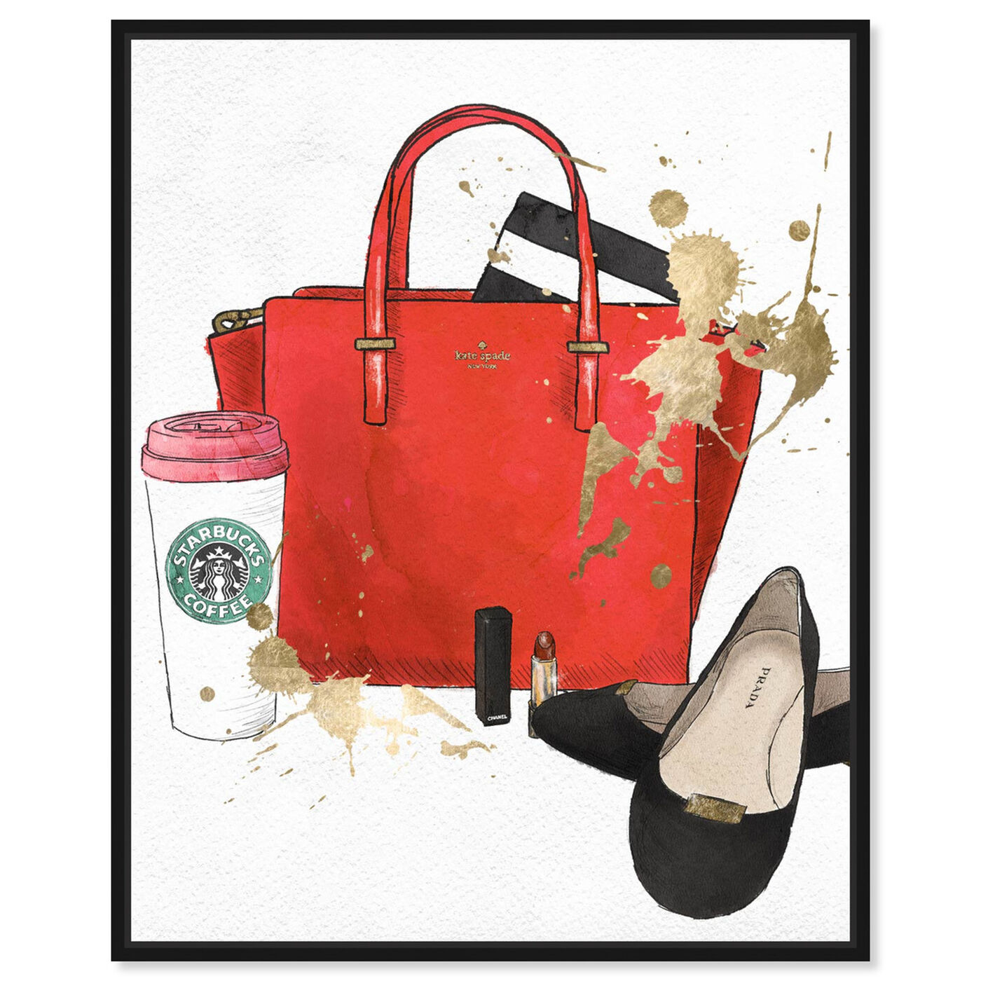 Front view of Bags, Shoes and Coffee Red featuring fashion and glam and essentials art.