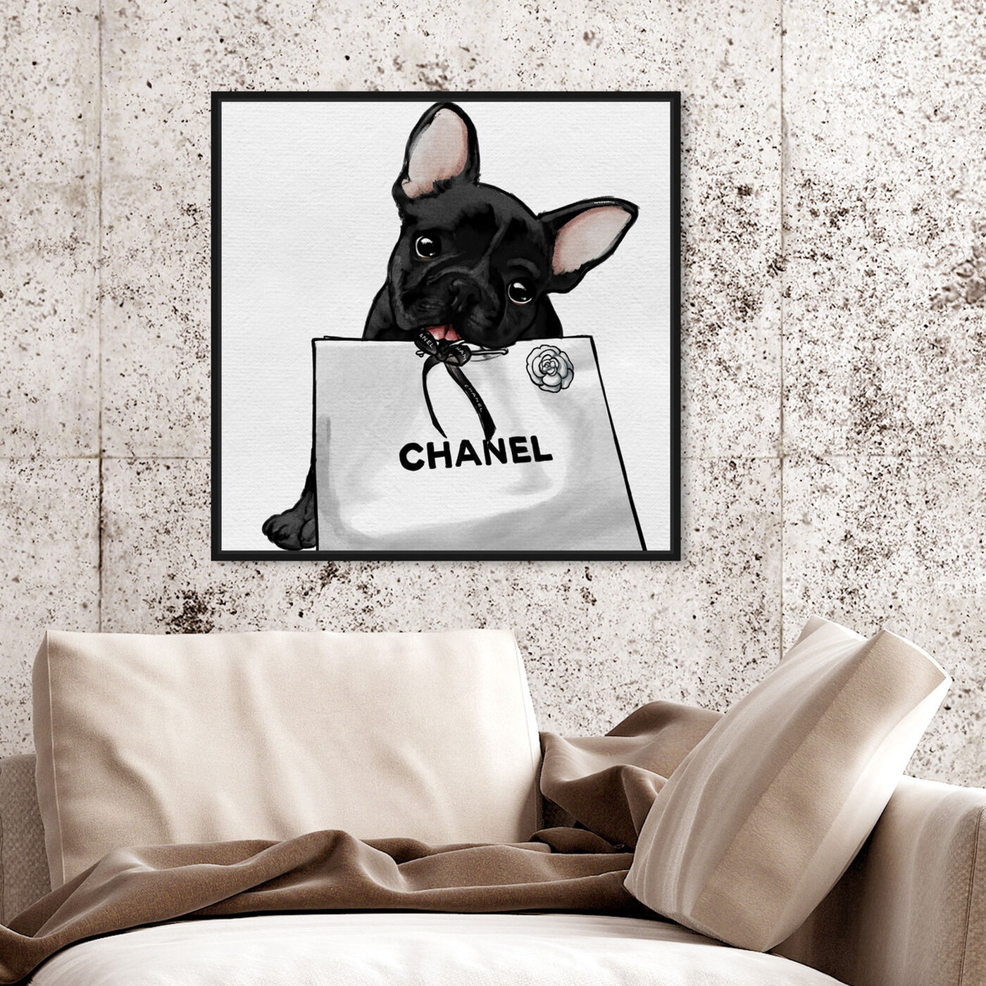 Hanging view of Frenchie Glam White Bag featuring animals and dogs and puppies art.