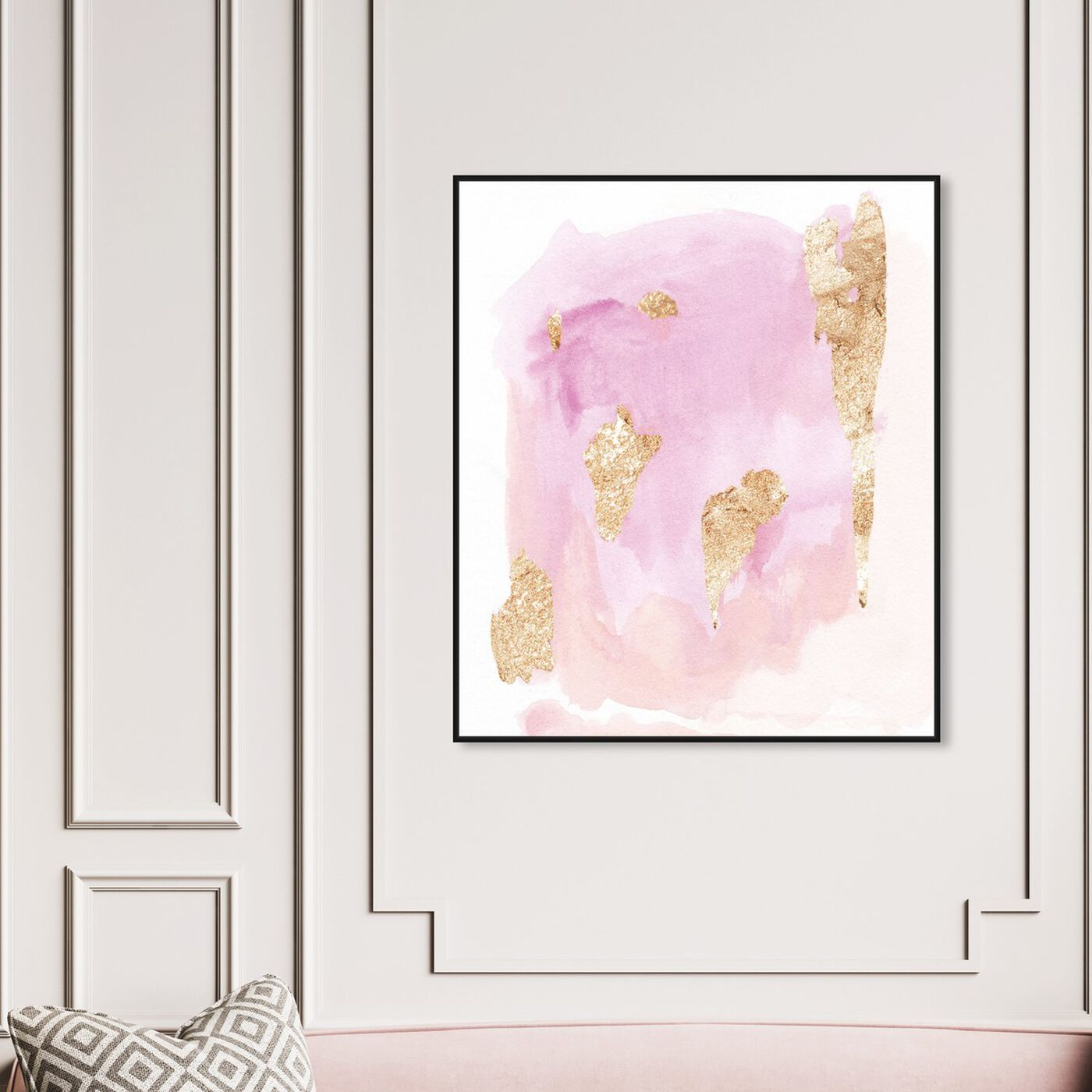 Hanging view of Pink Wednesdays featuring abstract and watercolor art.