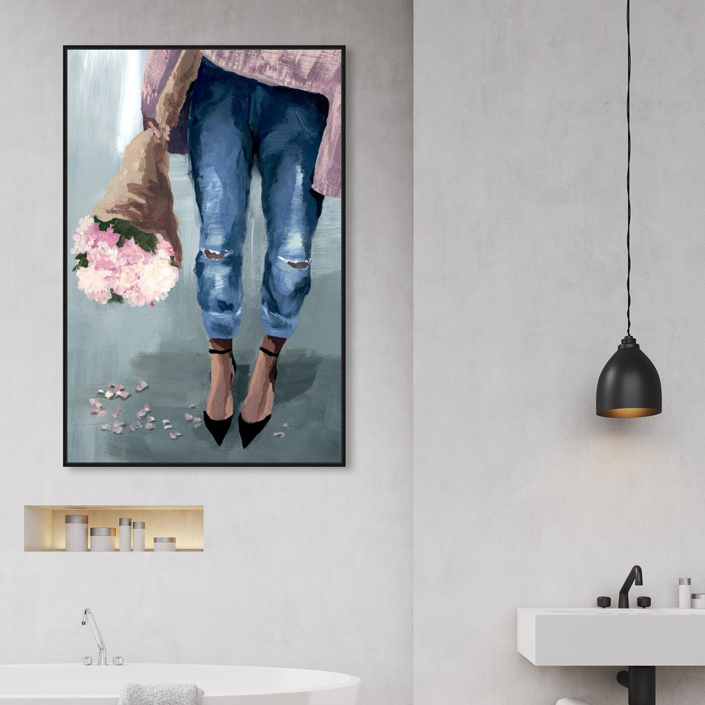 Hanging view of Falling Flowers featuring floral and botanical and florals art.
