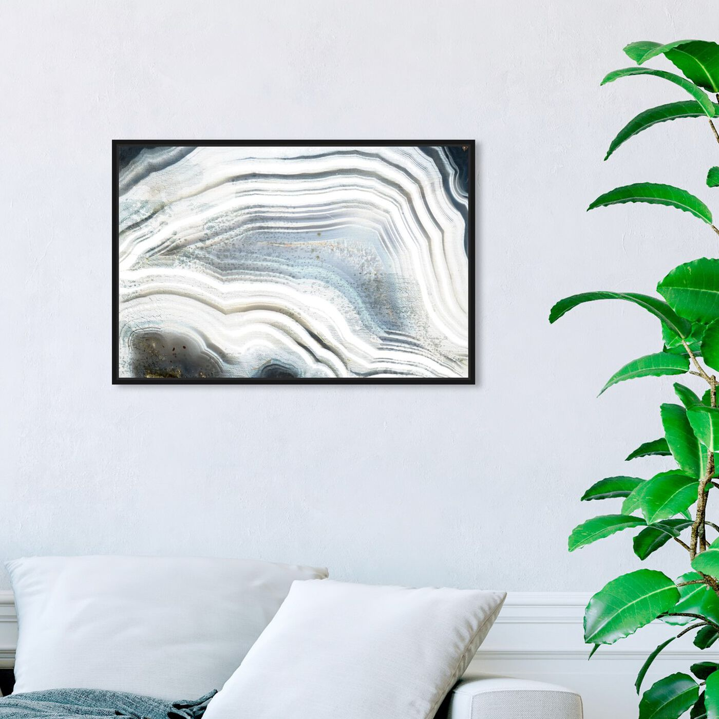 Hanging view of Marea Agate featuring abstract and crystals art.