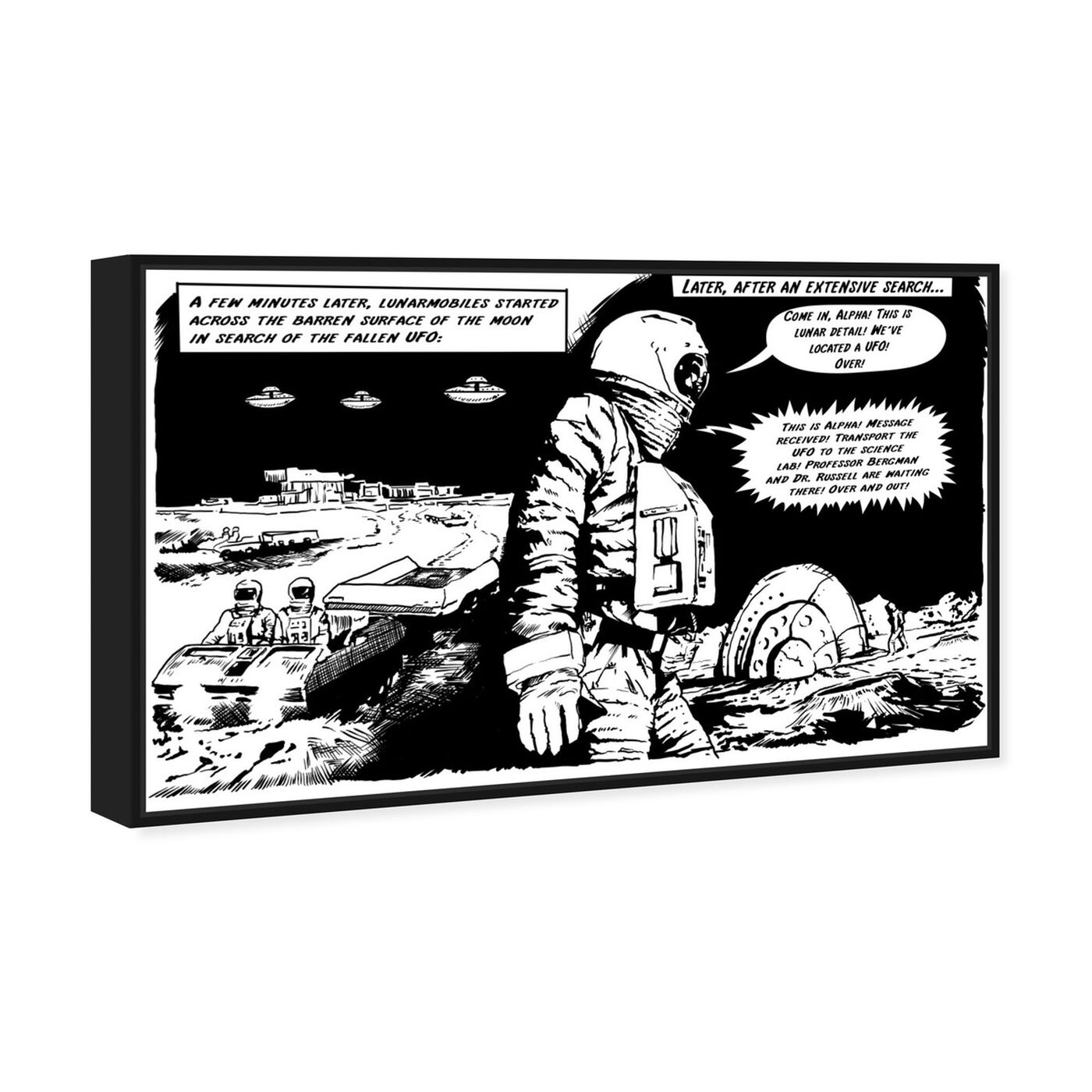 Angled view of On The Moon featuring advertising and comics art.