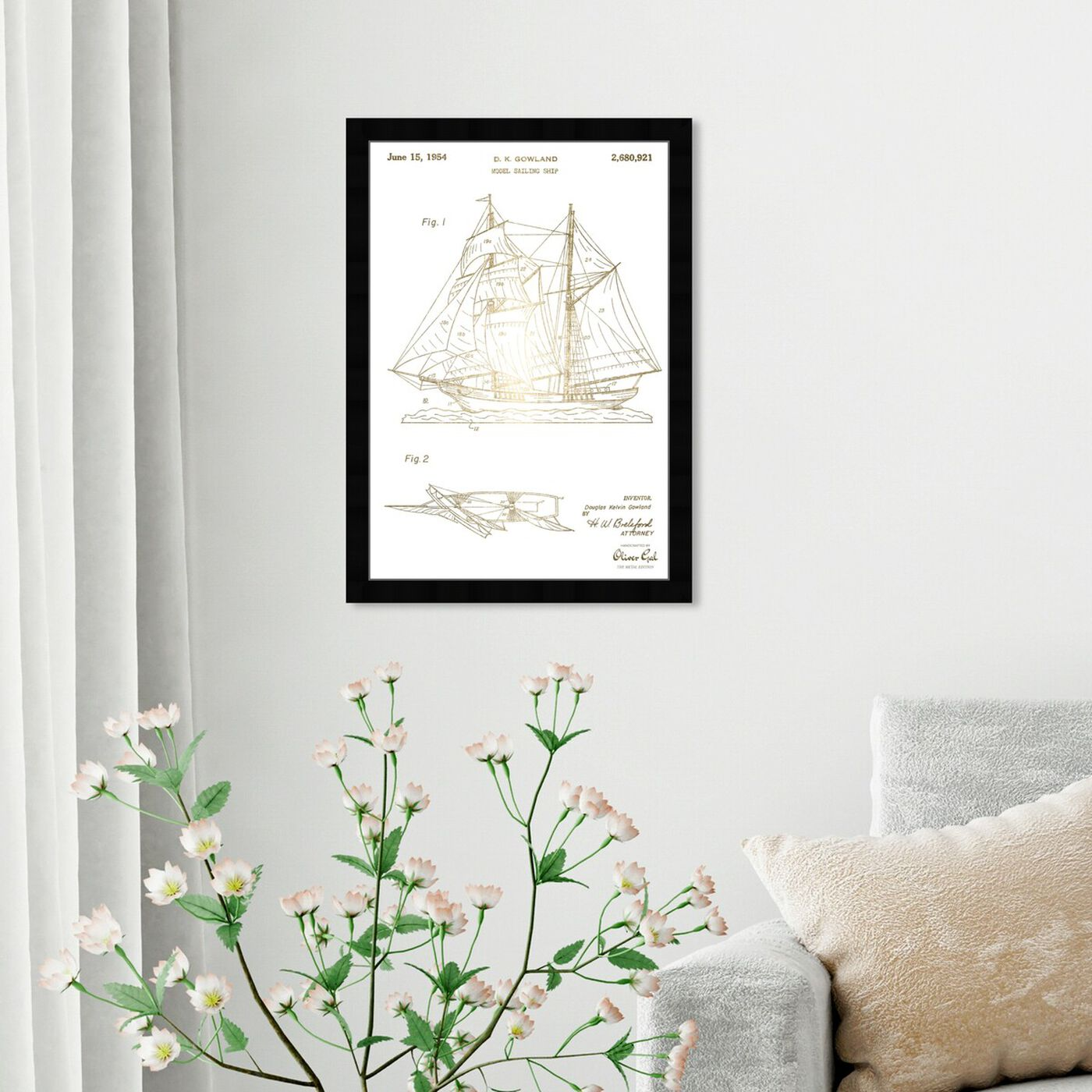 Hanging view of Model Sailing Ship 1954 I featuring transportation and boats and yachts art.