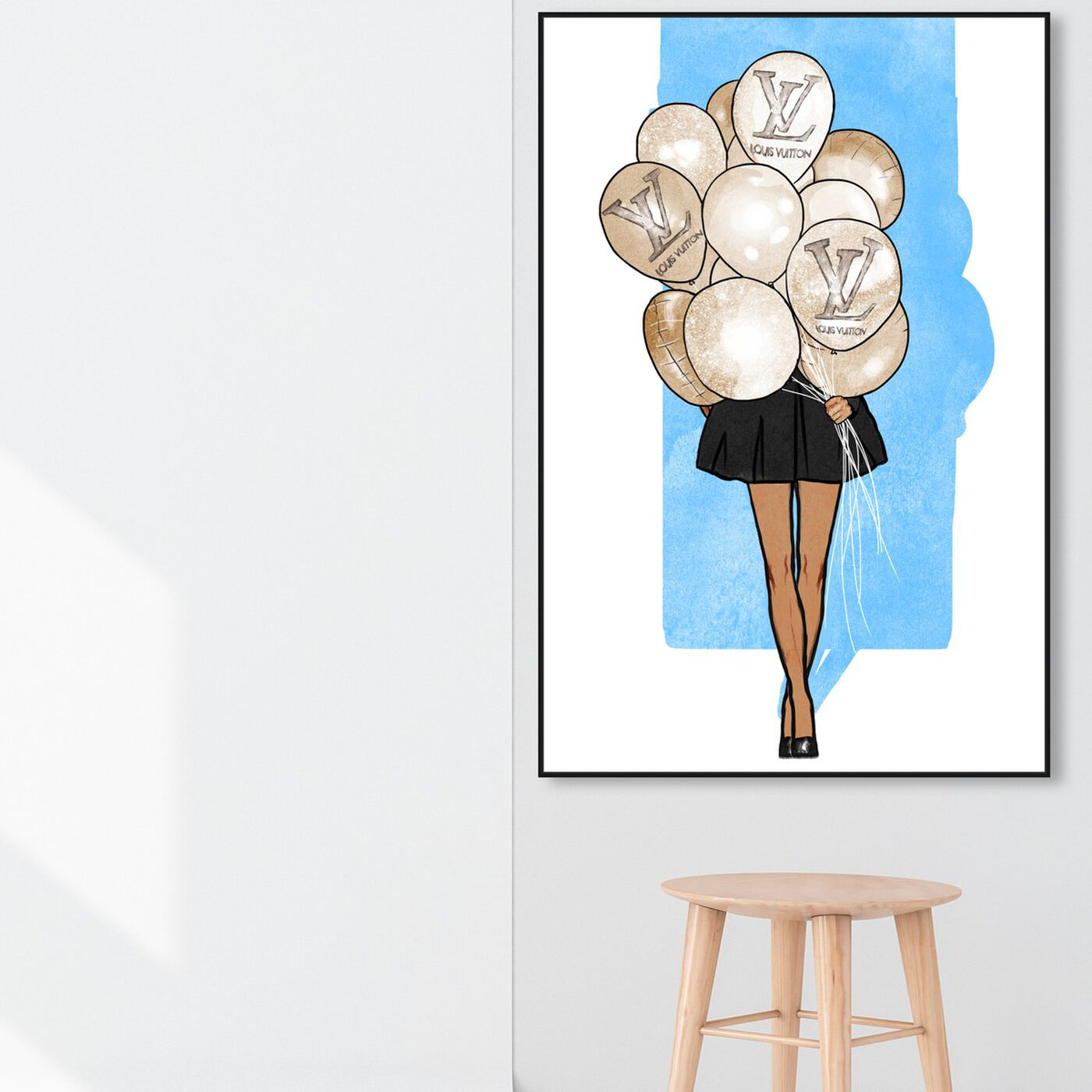 Hanging view of Balloon Girl Blue featuring fashion and glam and fashion art.