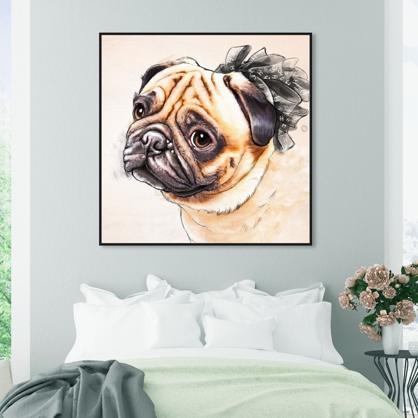 Hanging view of Watercolor Pug featuring animals and dogs and puppies art.