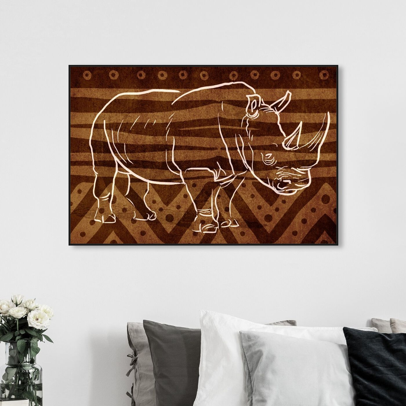 Hanging view of Copper Rhino featuring animals and zoo and wild animals art.