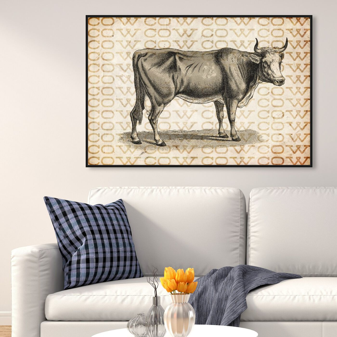 Hanging view of Cow featuring animals and farm animals art.