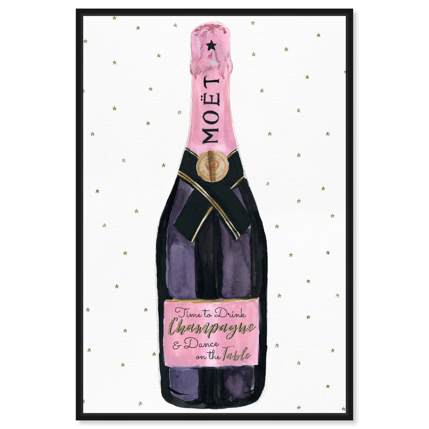Front view of Champagne and Stars Pink featuring drinks and spirits and champagne art.