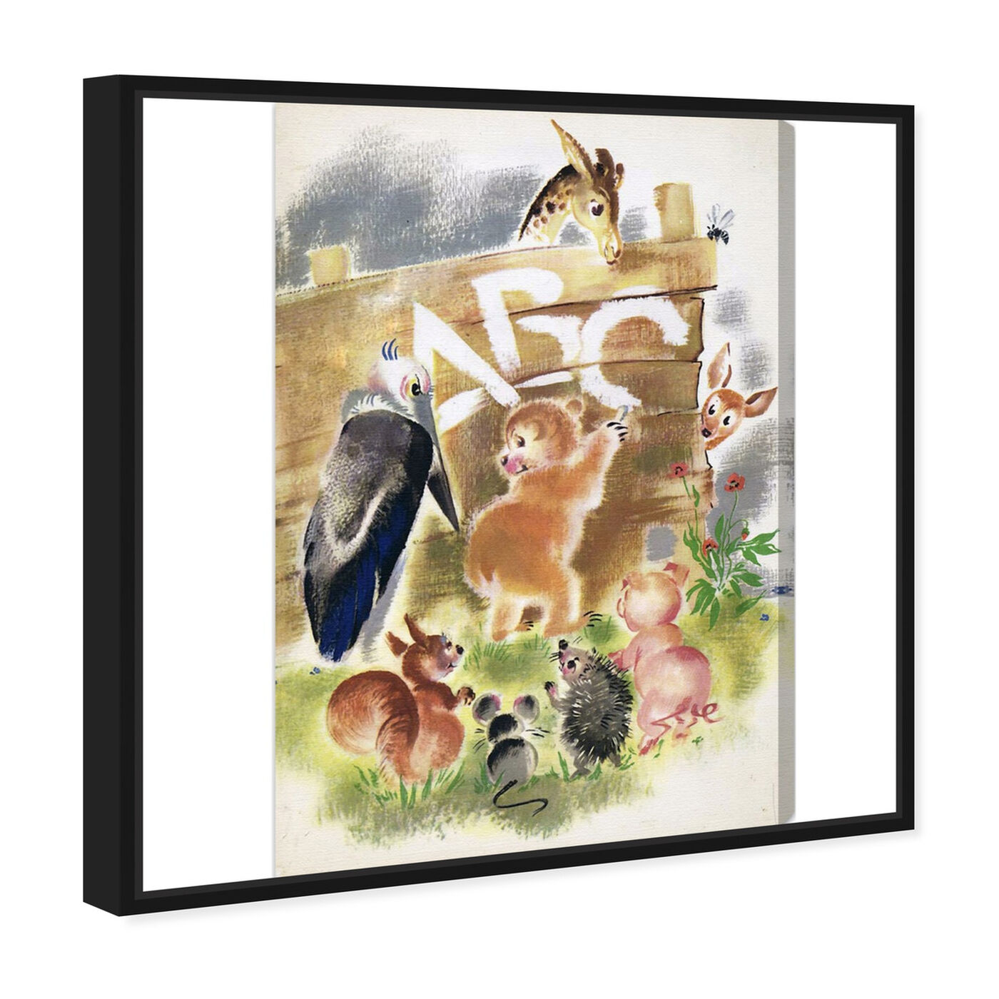 Angled view of Animal ABC featuring animals and baby animals art.