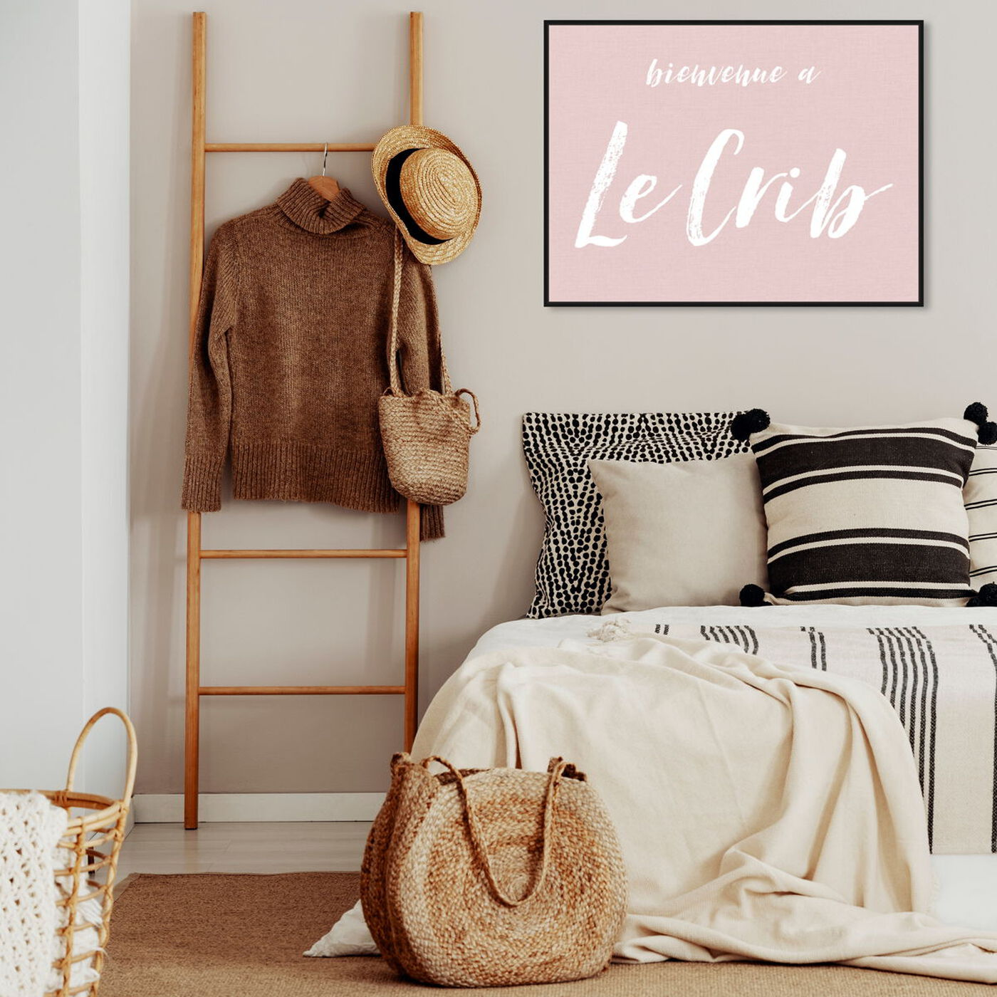 Hanging view of Le Crib featuring typography and quotes and travel quotes and sayings art.