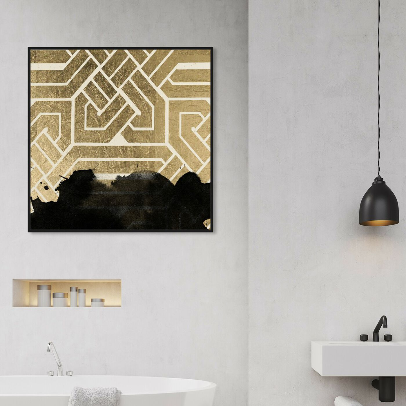 Hanging view of Introspect Deco featuring abstract and shapes art.
