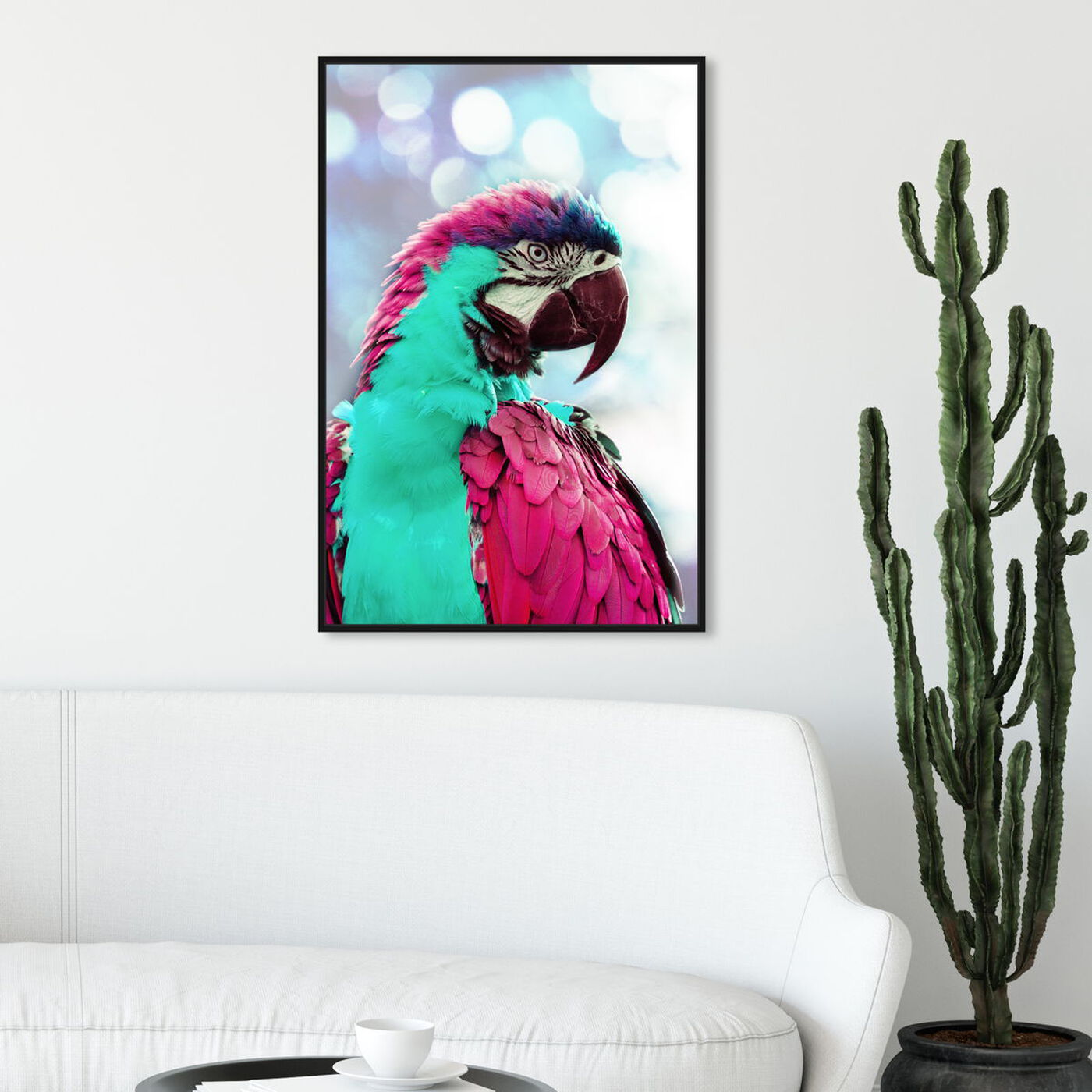 Hanging view of Pink Turquoise Macaw featuring animals and birds art.