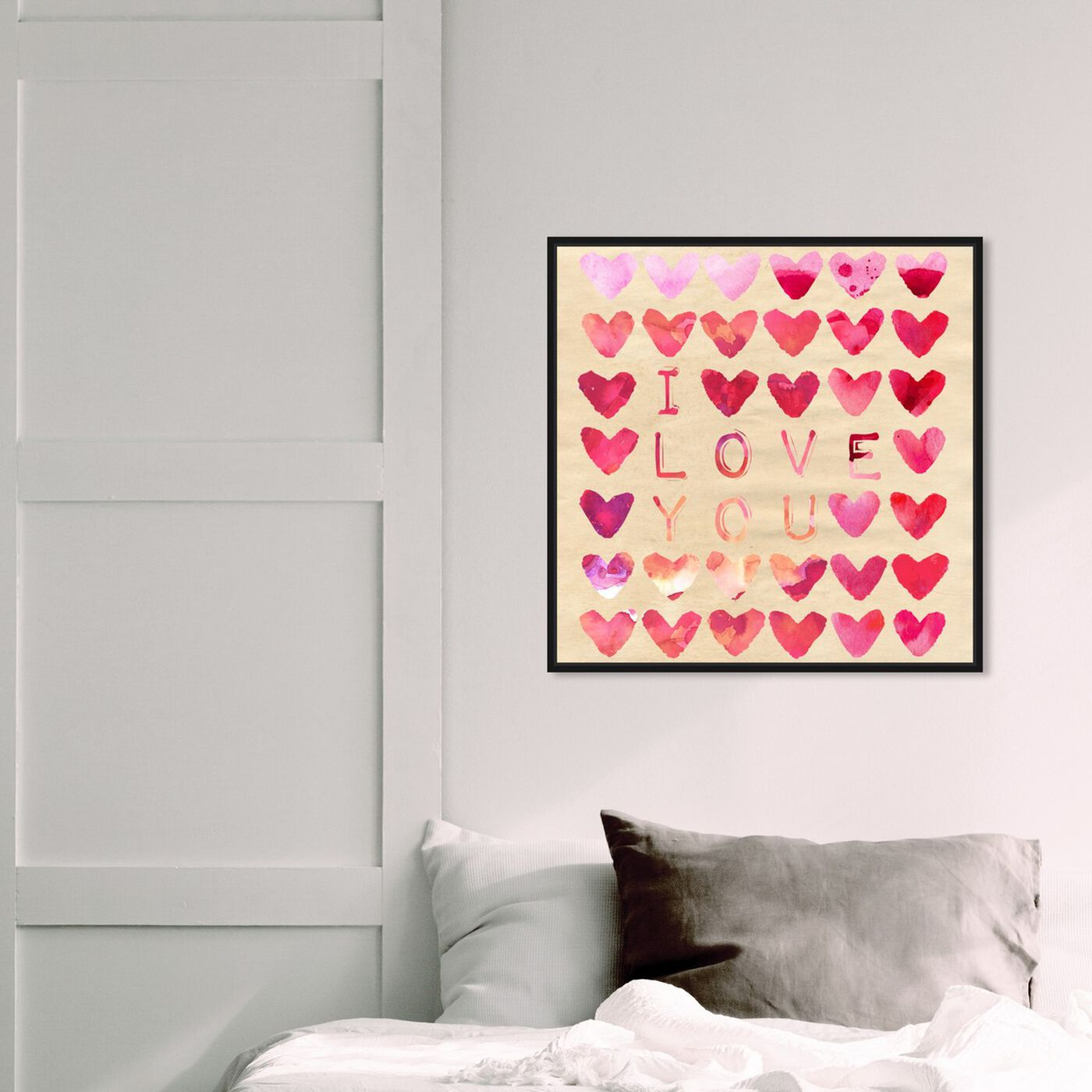 Hanging view of I Love You featuring typography and quotes and love quotes and sayings art.