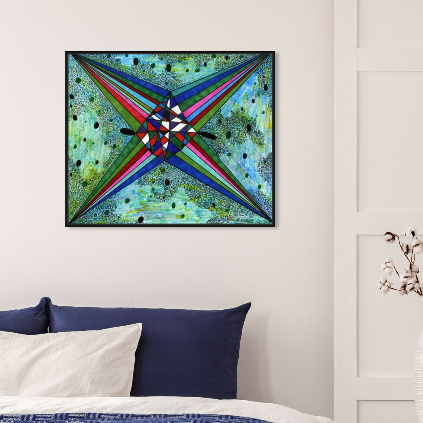 Hanging view of Intergalactica featuring abstract and geometric art.