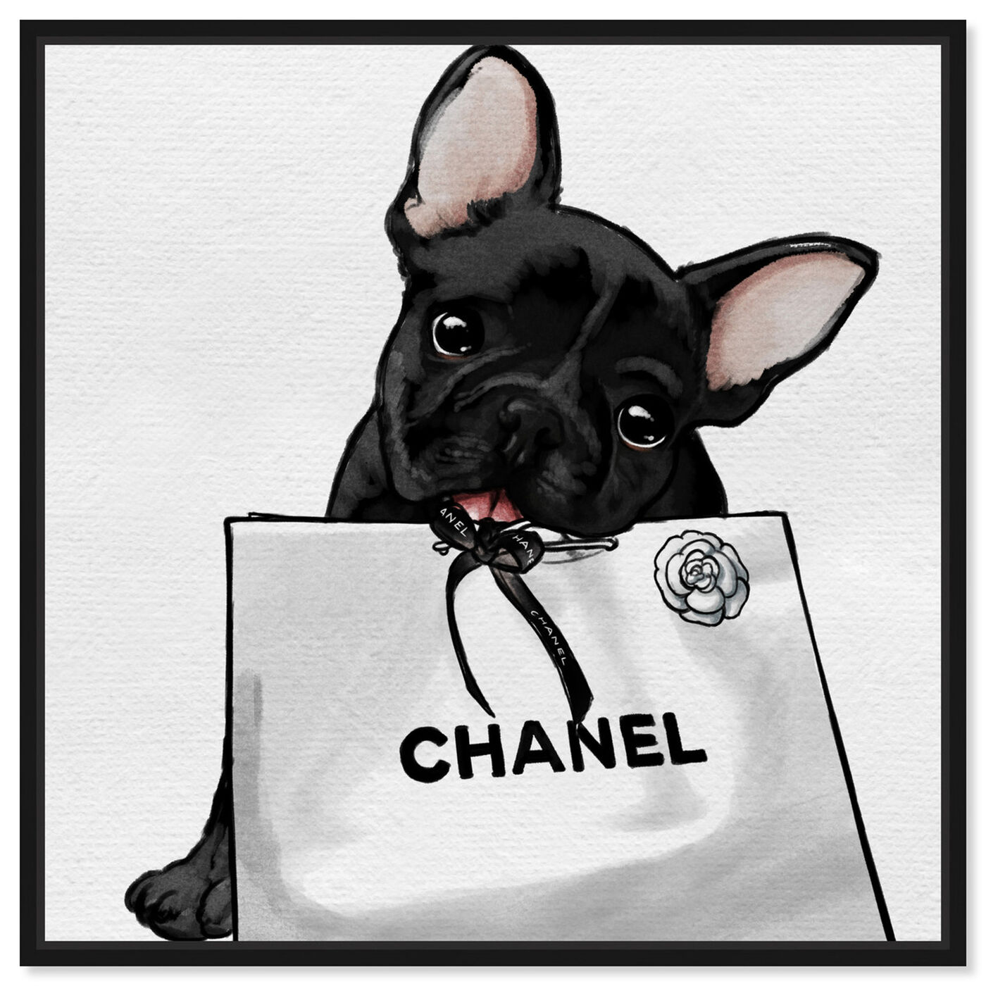 Front view of Frenchie Glam White Bag featuring animals and dogs and puppies art.