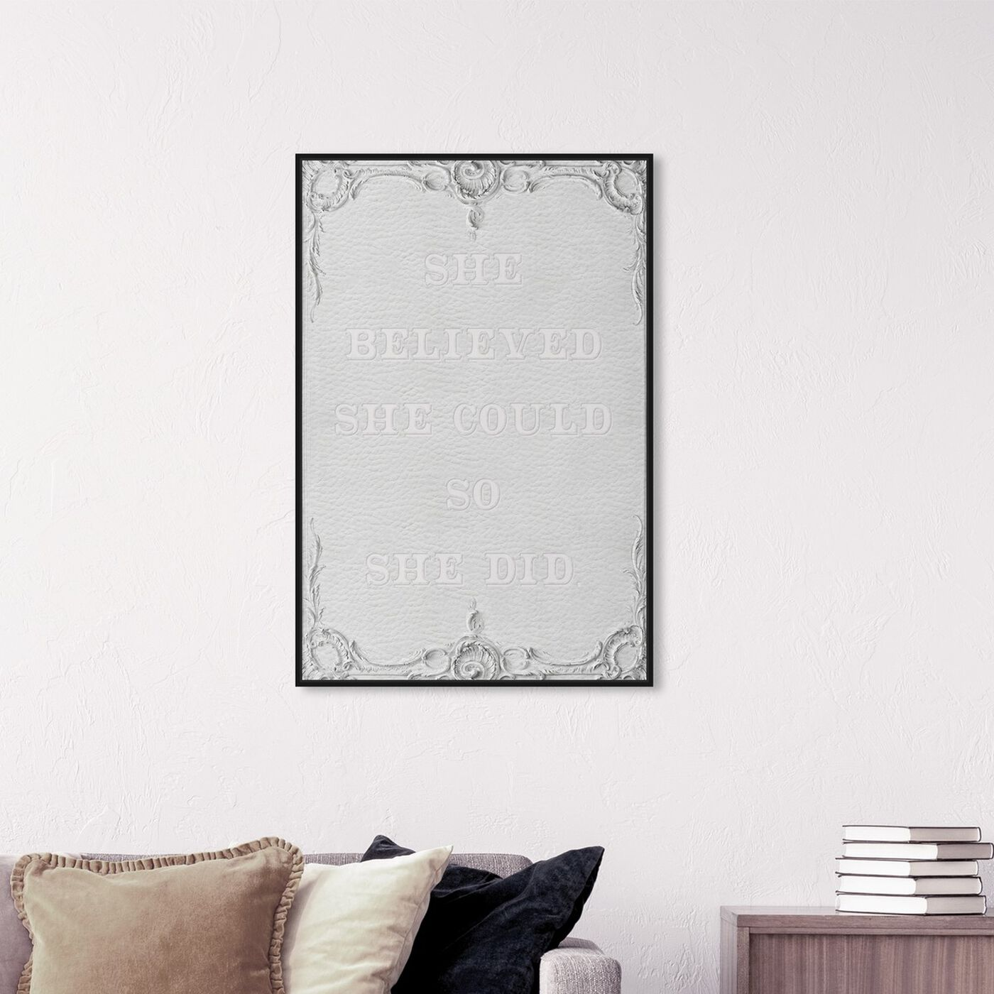 Hanging view of She Did White Leather featuring typography and quotes and empowered women quotes and sayings art.