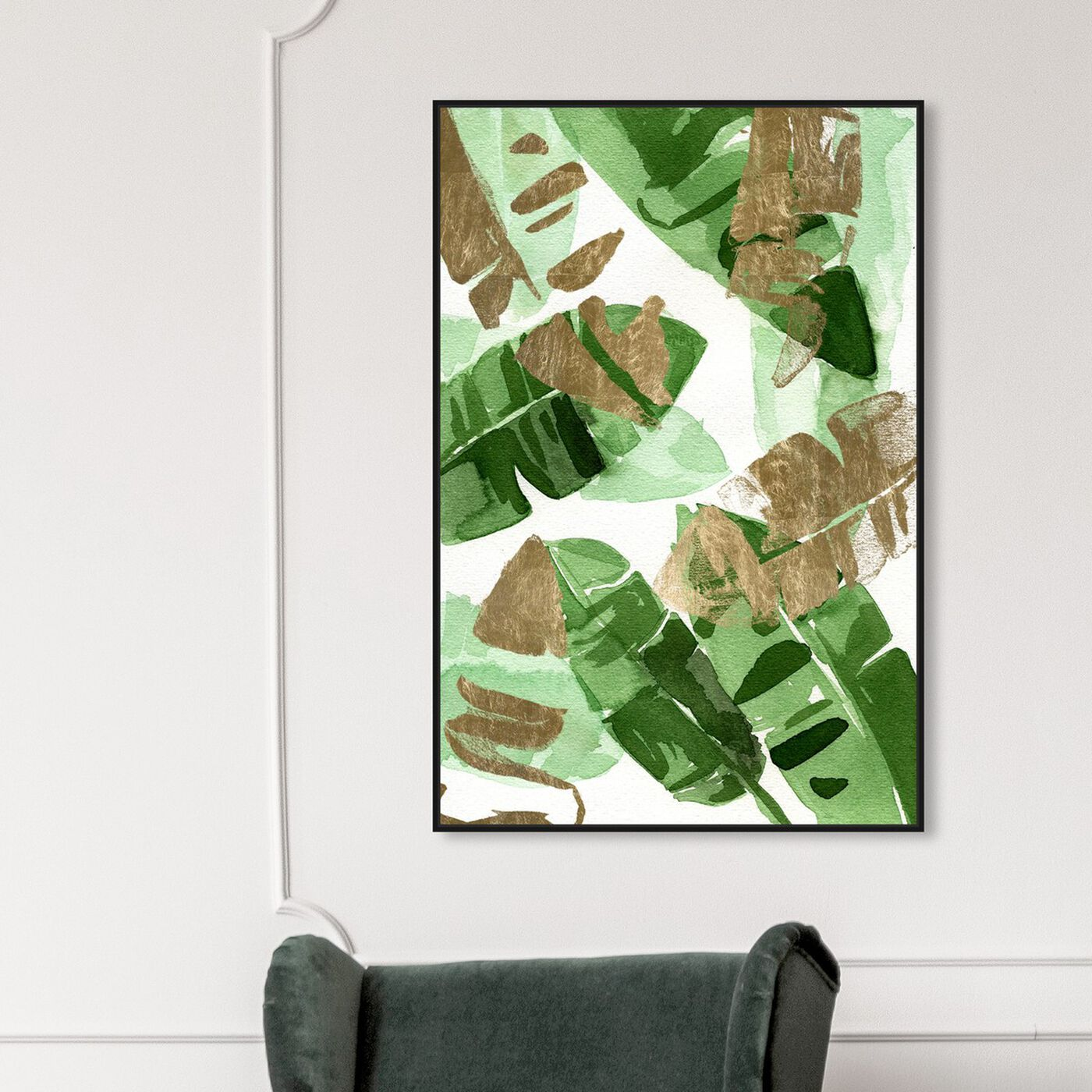 Hanging view of Tropical Wonders Gold featuring floral and botanical and botanicals art.
