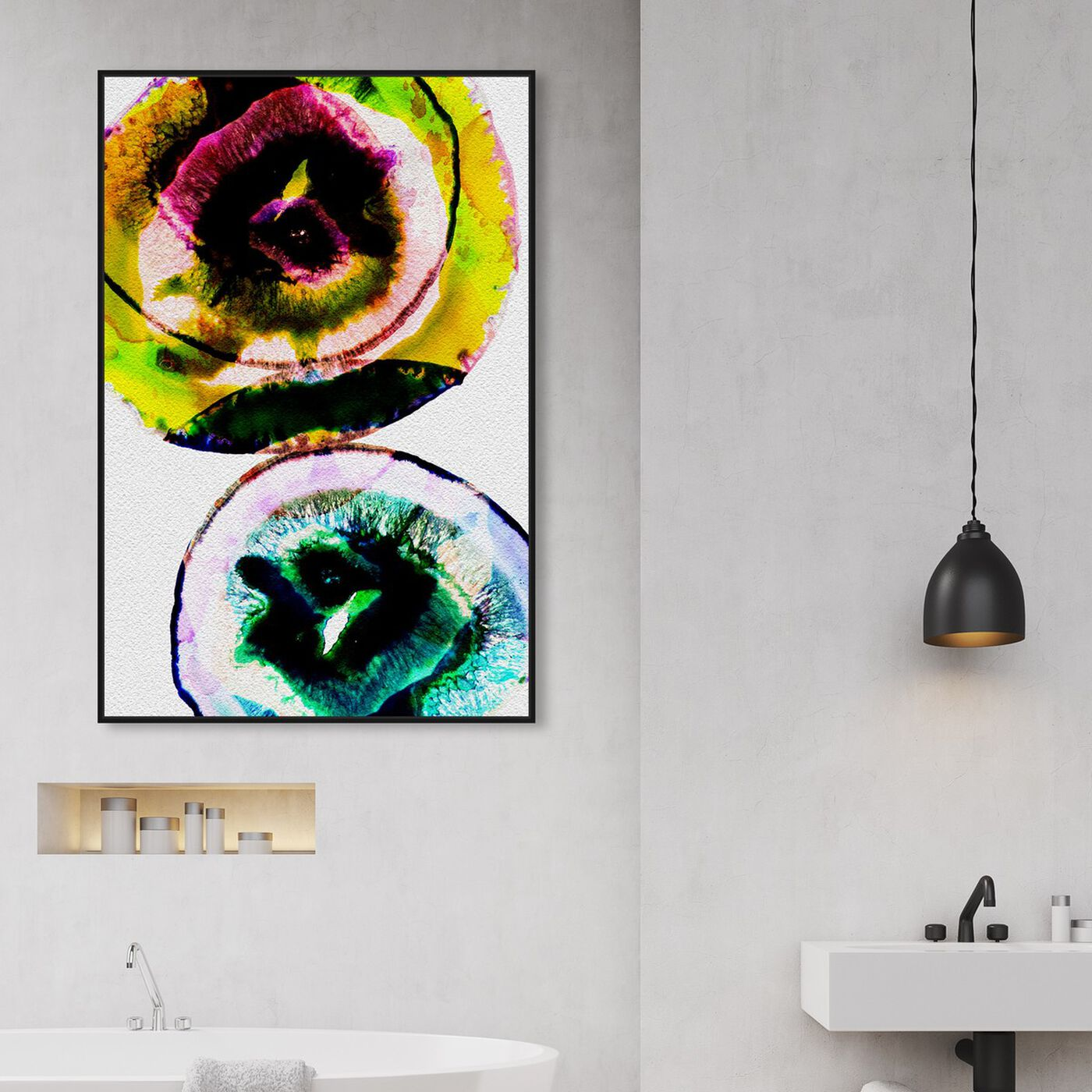 Hanging view of Neostone featuring abstract and paint art.
