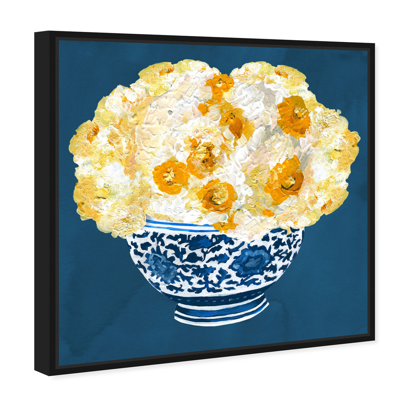 Angled view of Blue and Yellow Vase featuring floral and botanical and florals art.