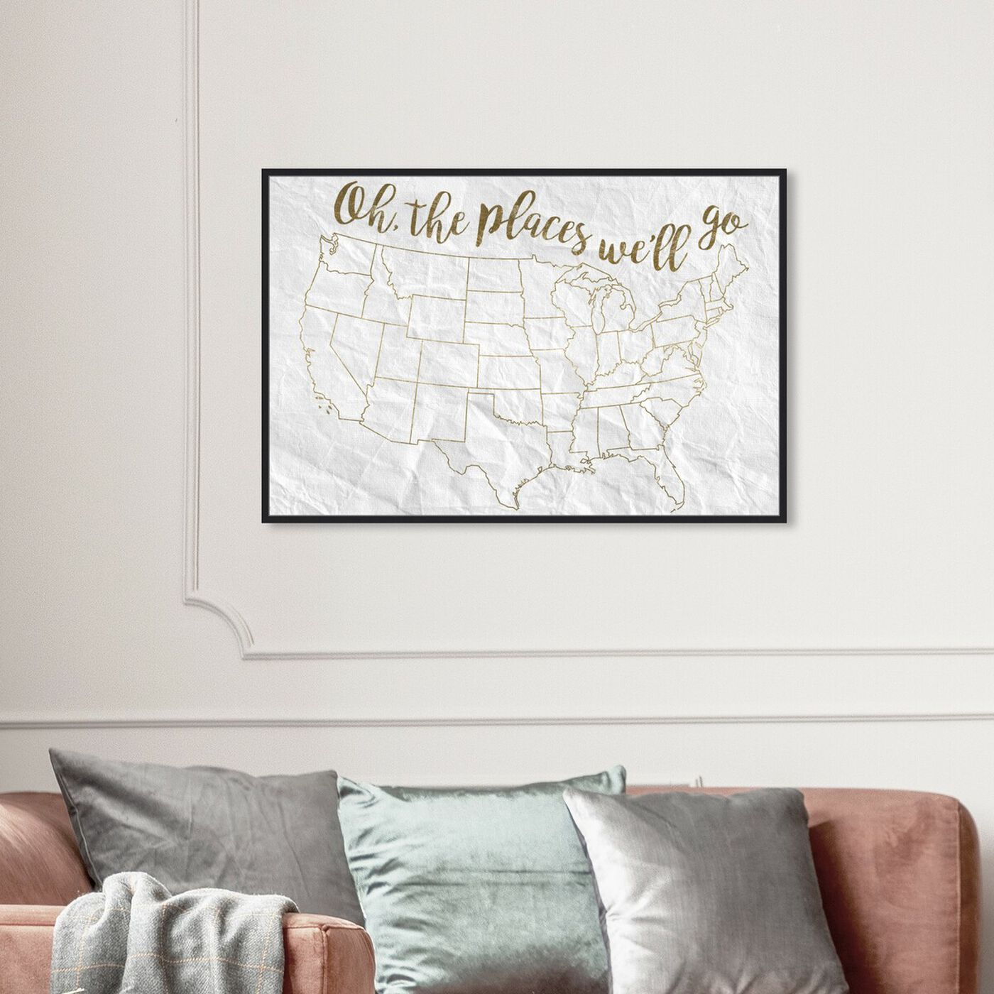 Hanging view of Oh The Places Well Go featuring americana and patriotic and us states art.