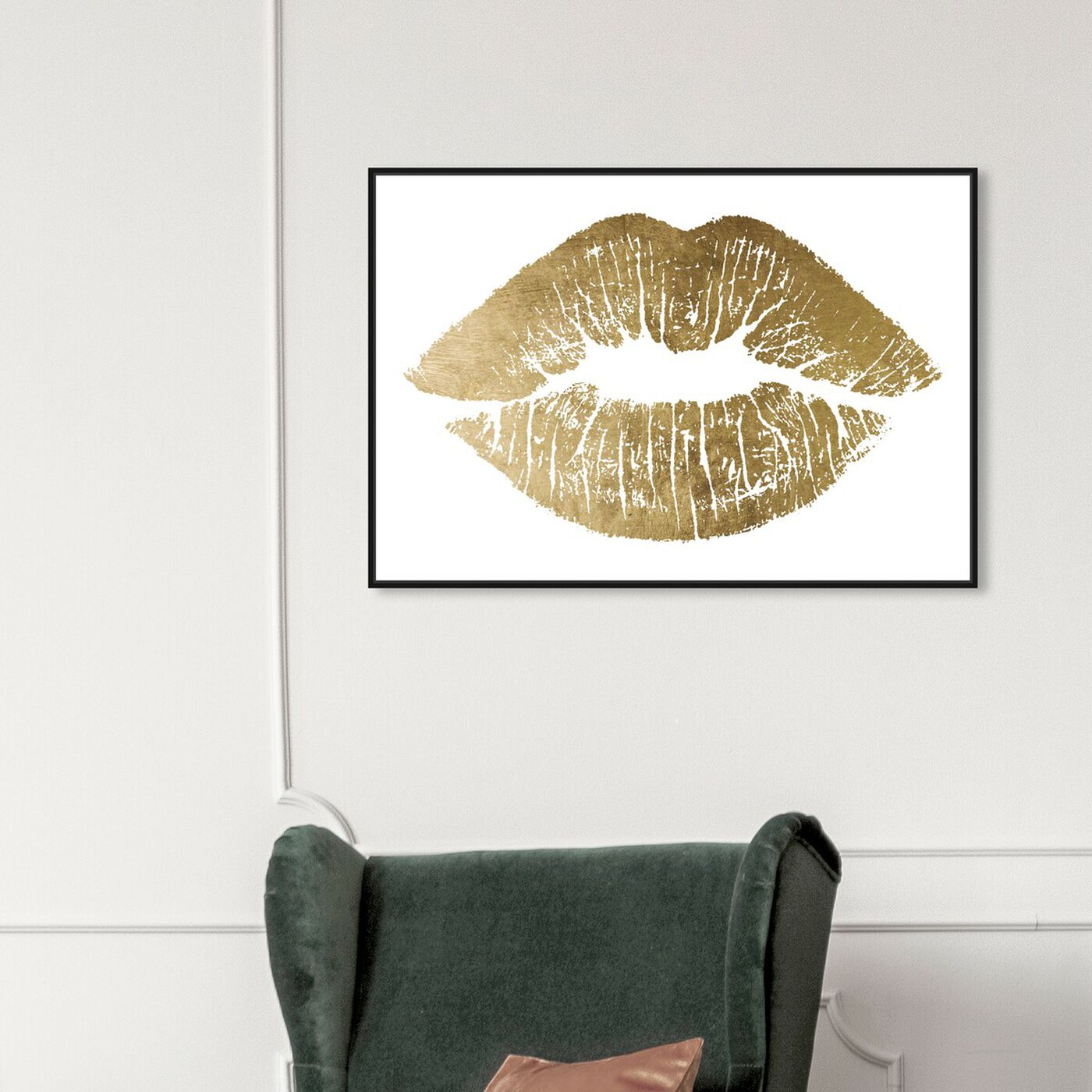Hanging view of Solid Kiss Gold Foil featuring fashion and glam and lips art.