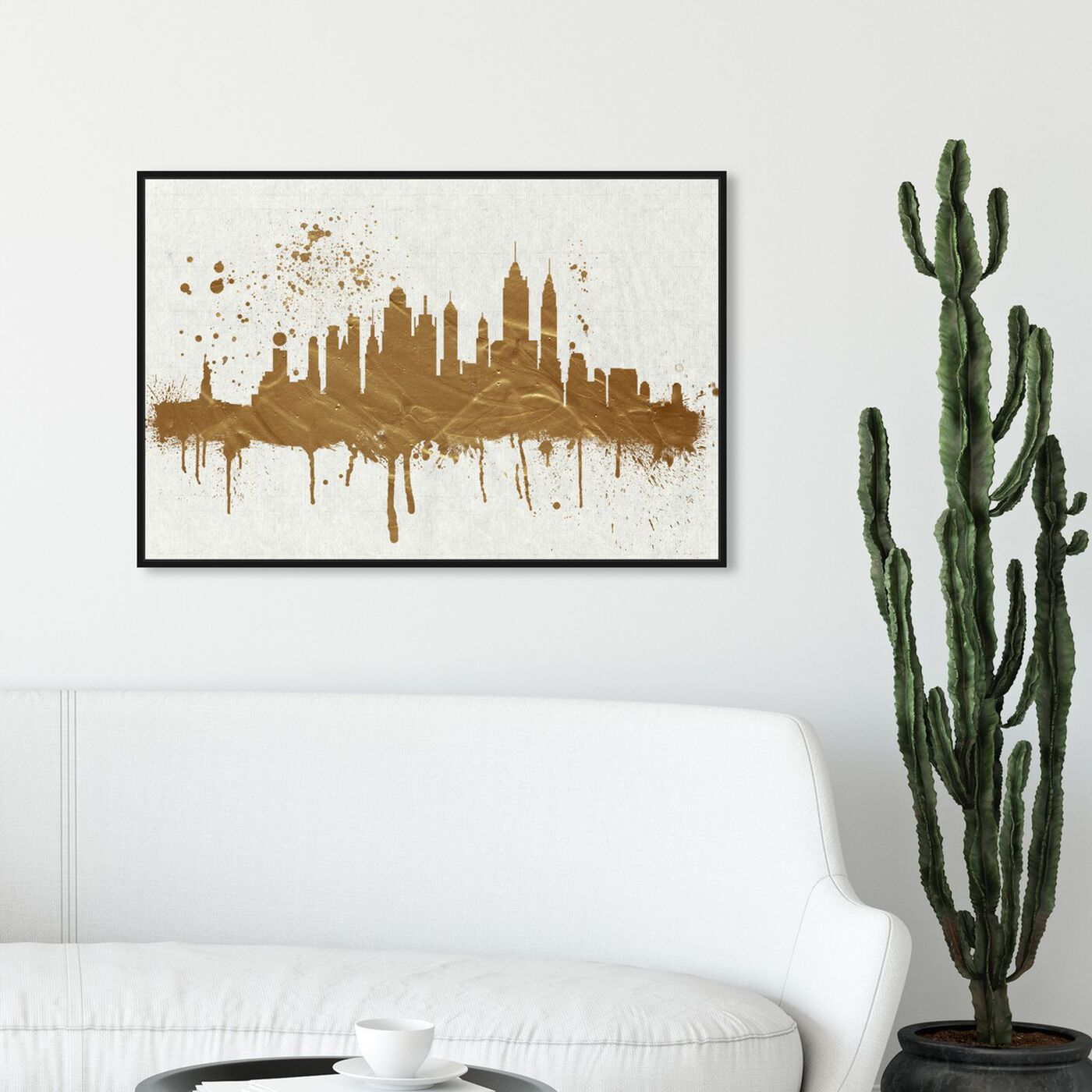 Hanging view of Gold NY Skyline featuring cities and skylines and united states cities art.