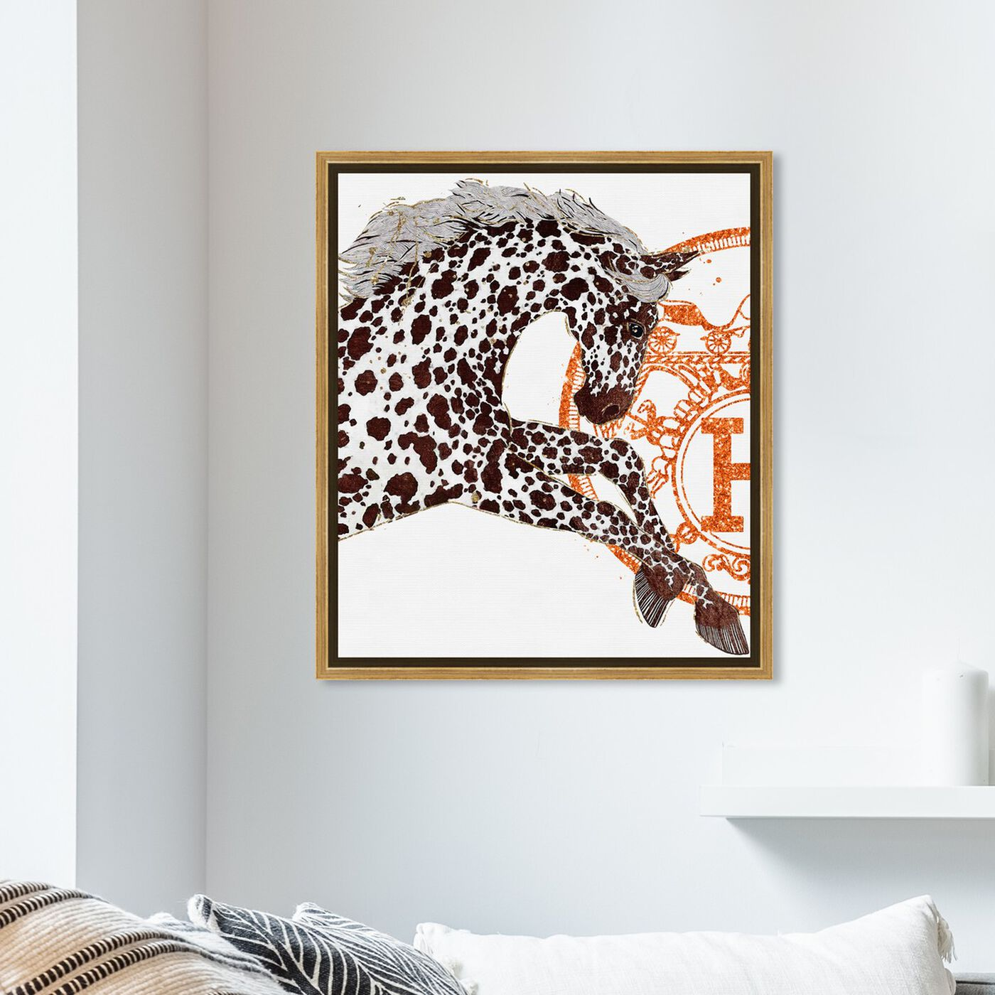 Hanging view of Appaloosa Cavalier I featuring fashion and glam and fashion art.
