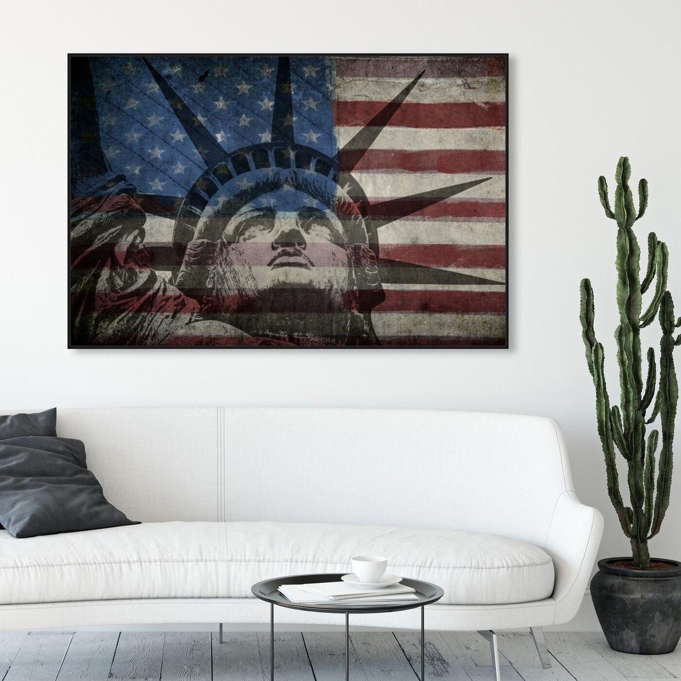 Hanging view of Statue of Liberty featuring americana and patriotic and us flags art.