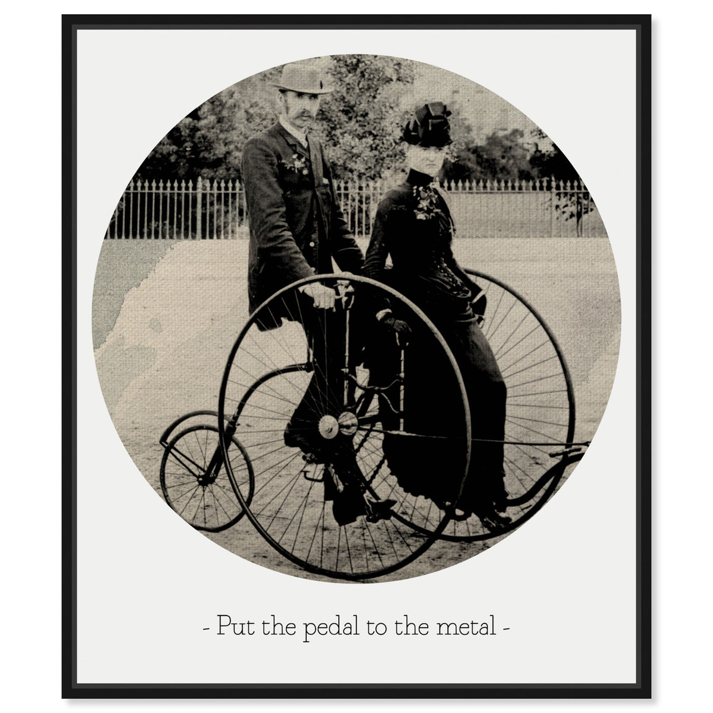 Front view of Pedal to the Metal featuring classic and figurative and family life art.