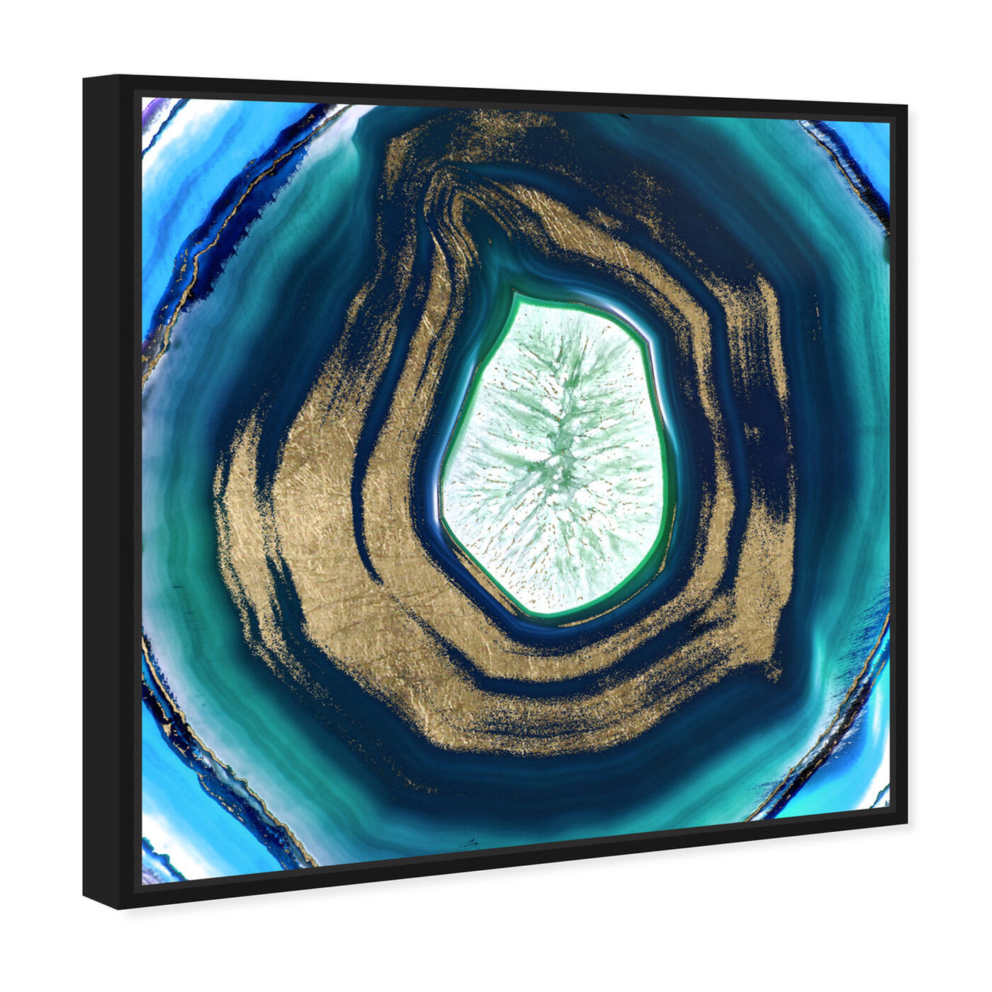Angled view of Bluelove Geo featuring abstract and crystals art.