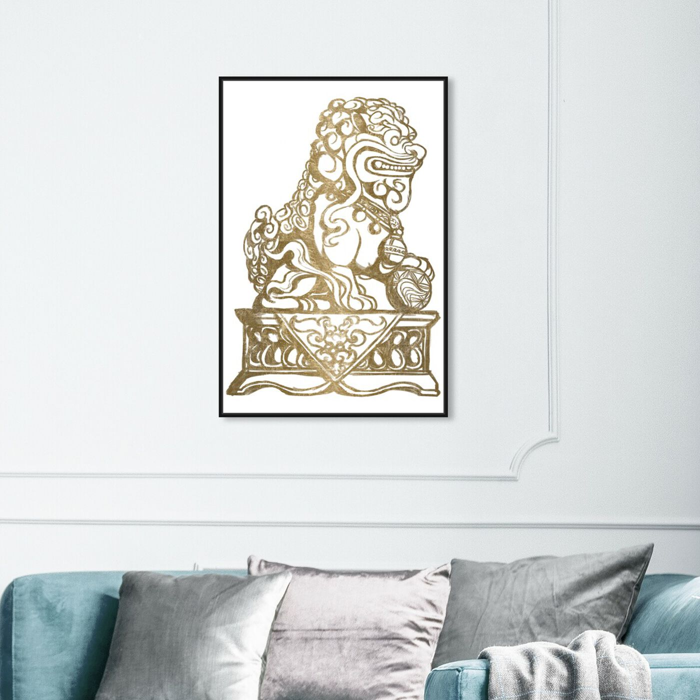 Hanging view of Foo Dog Gold II featuring symbols and objects and symbols art.