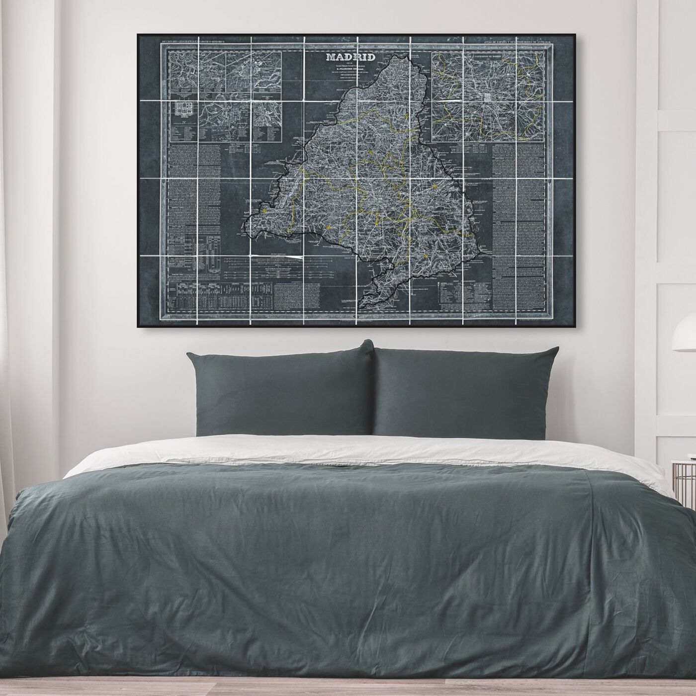 Hanging view of Map of Madrid 1861 featuring maps and flags and european cities maps art.