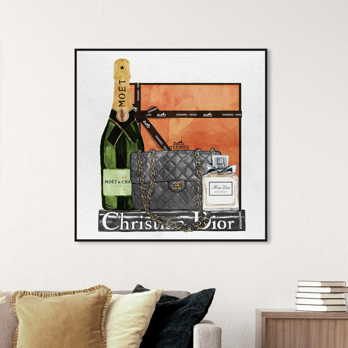 Hanging view of Delicate Perfume and Books featuring fashion and glam and handbags art.