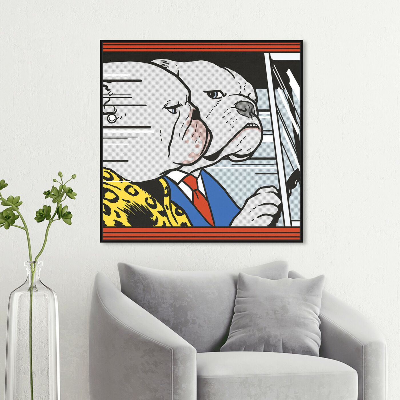 Hanging view of Car Ride by Carson Kressley featuring animals and dogs and puppies art.