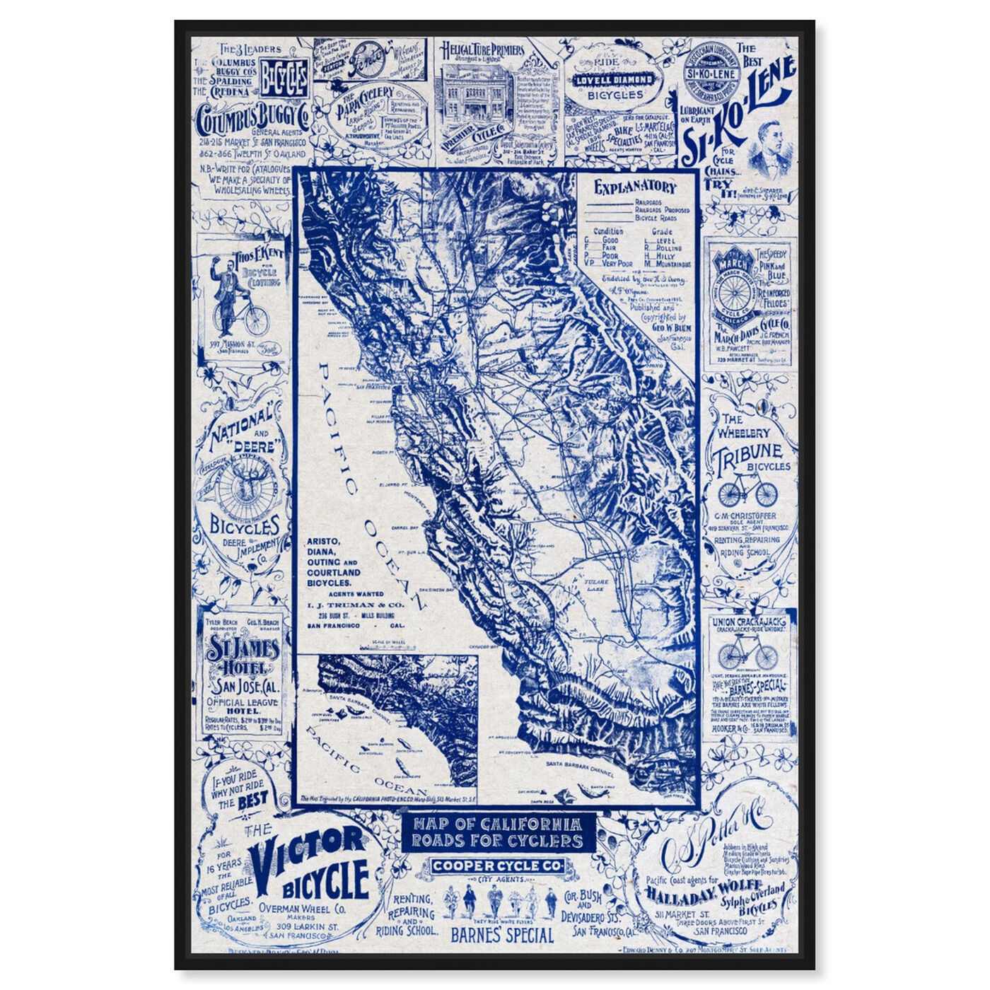 Front view of Map of California 1896 for Cyclers Blueprint featuring maps and flags and us states maps art.