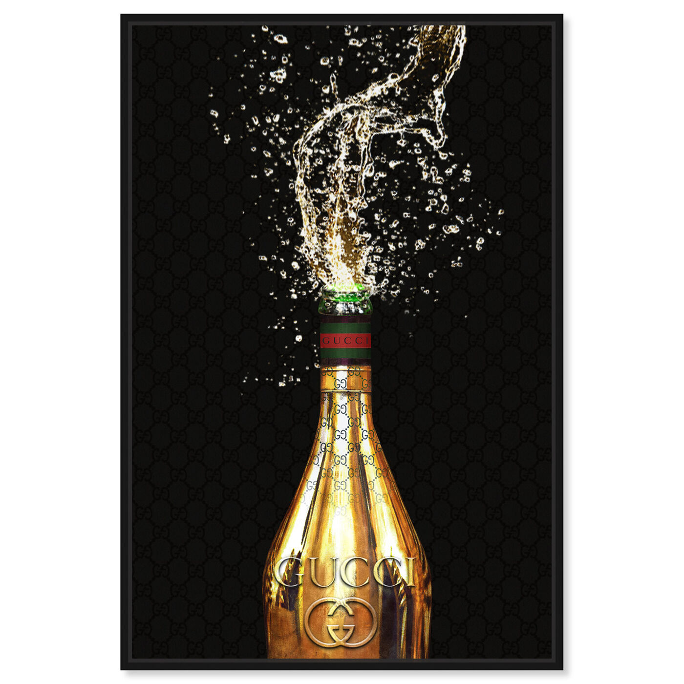 Front view of Italian Champagne featuring drinks and spirits and champagne art.