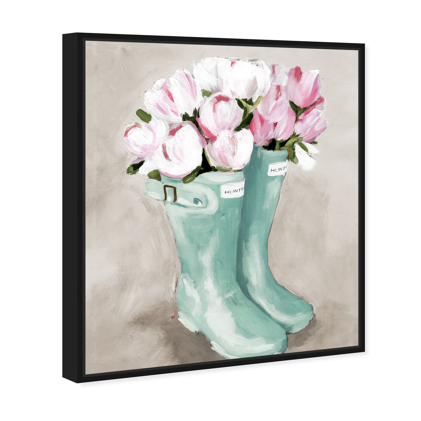 Angled view of Tulips In Spring Boots featuring floral and botanical and florals art.