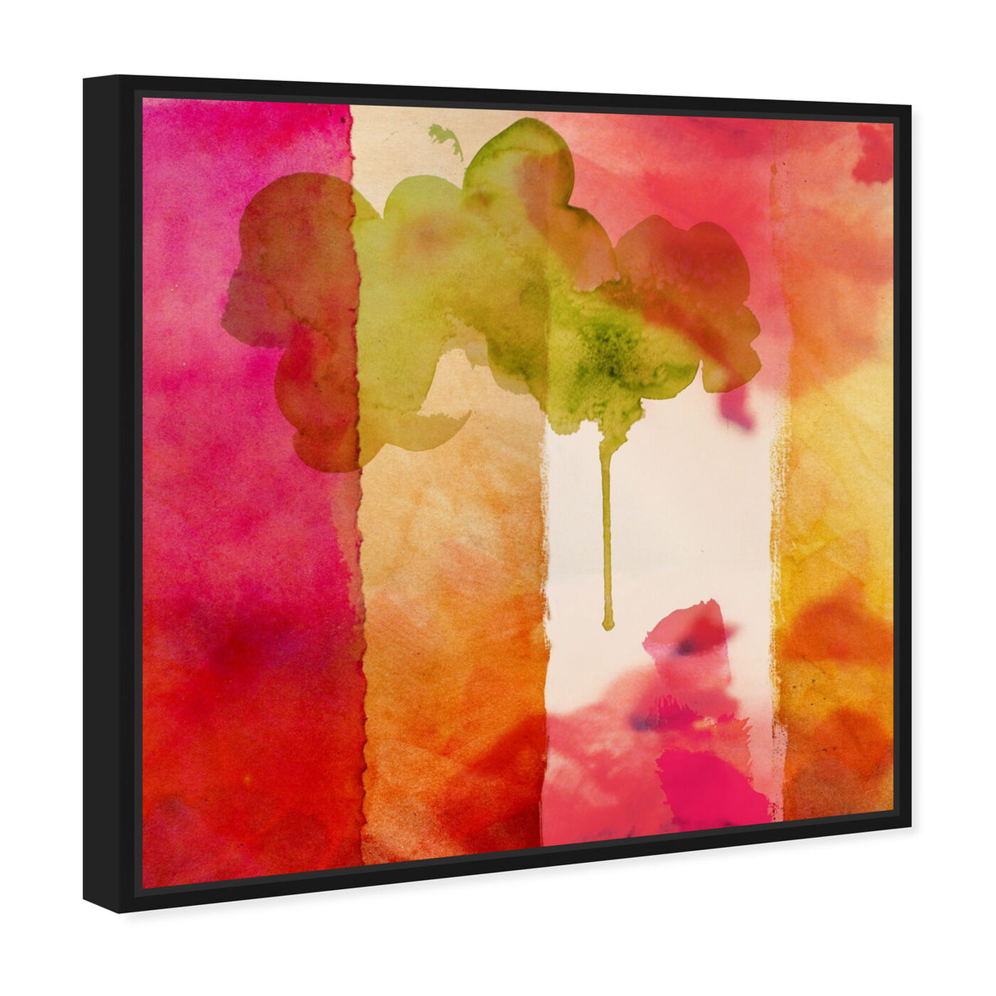 Angled view of Amber Velvet featuring abstract and watercolor art.