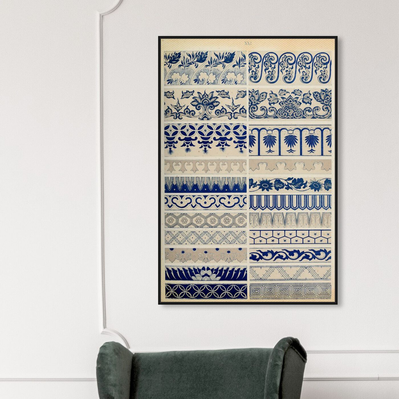 Hanging view of Ornaments 1867 Plate XXI featuring abstract and patterns art.