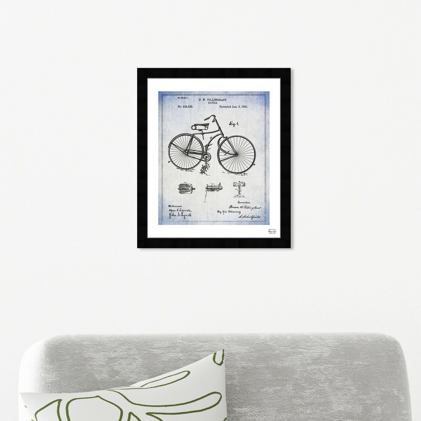 Hanging view of Bicycle 1891 featuring transportation and bicycles art.