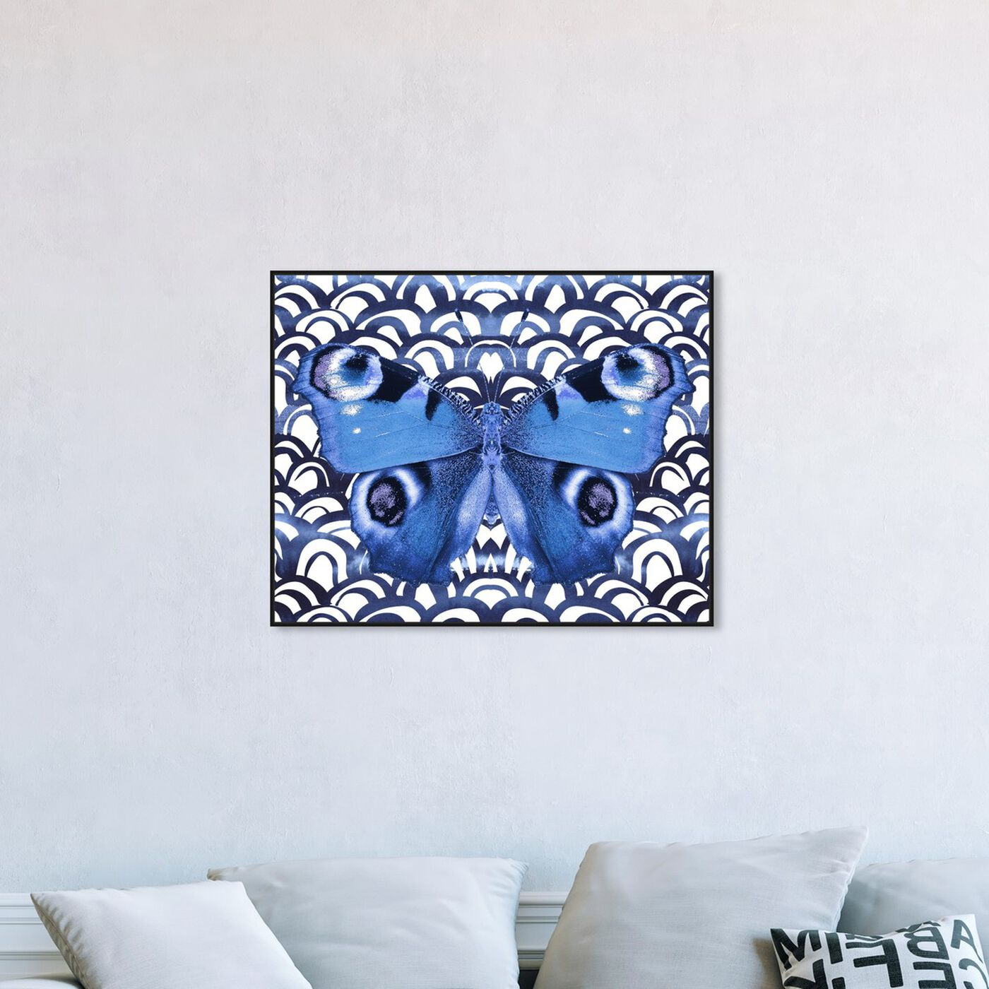 Hanging view of Butterfly Indigo featuring animals and insects art.