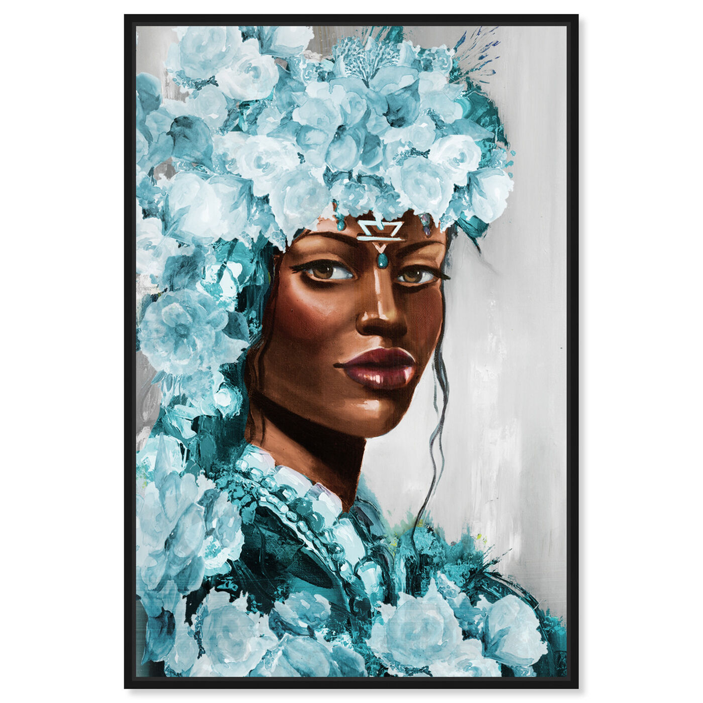 Front view of Flower Queen Teal featuring people and portraits and portraits art.