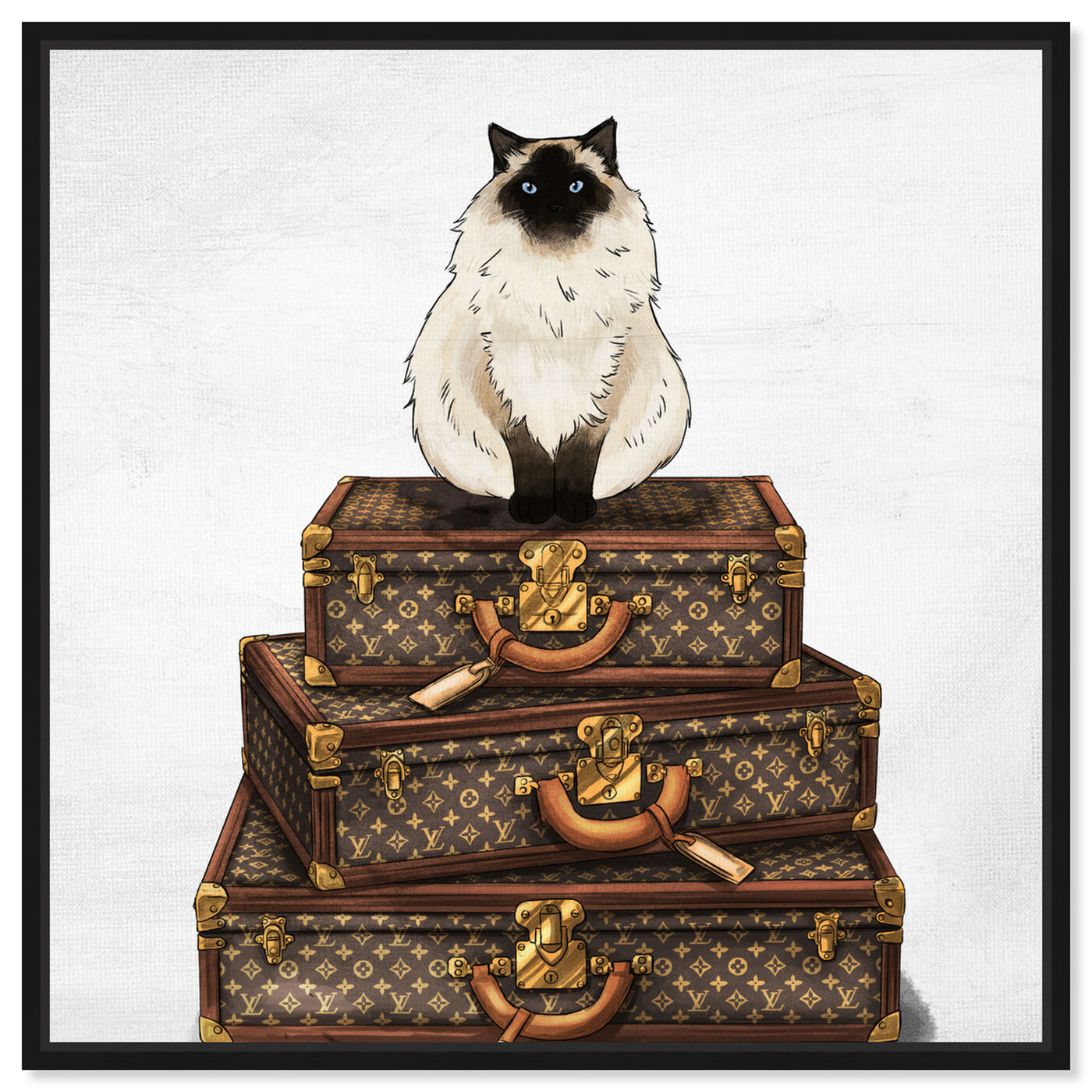 Front view of Siamese Suitcase featuring fashion and glam and travel essentials art.