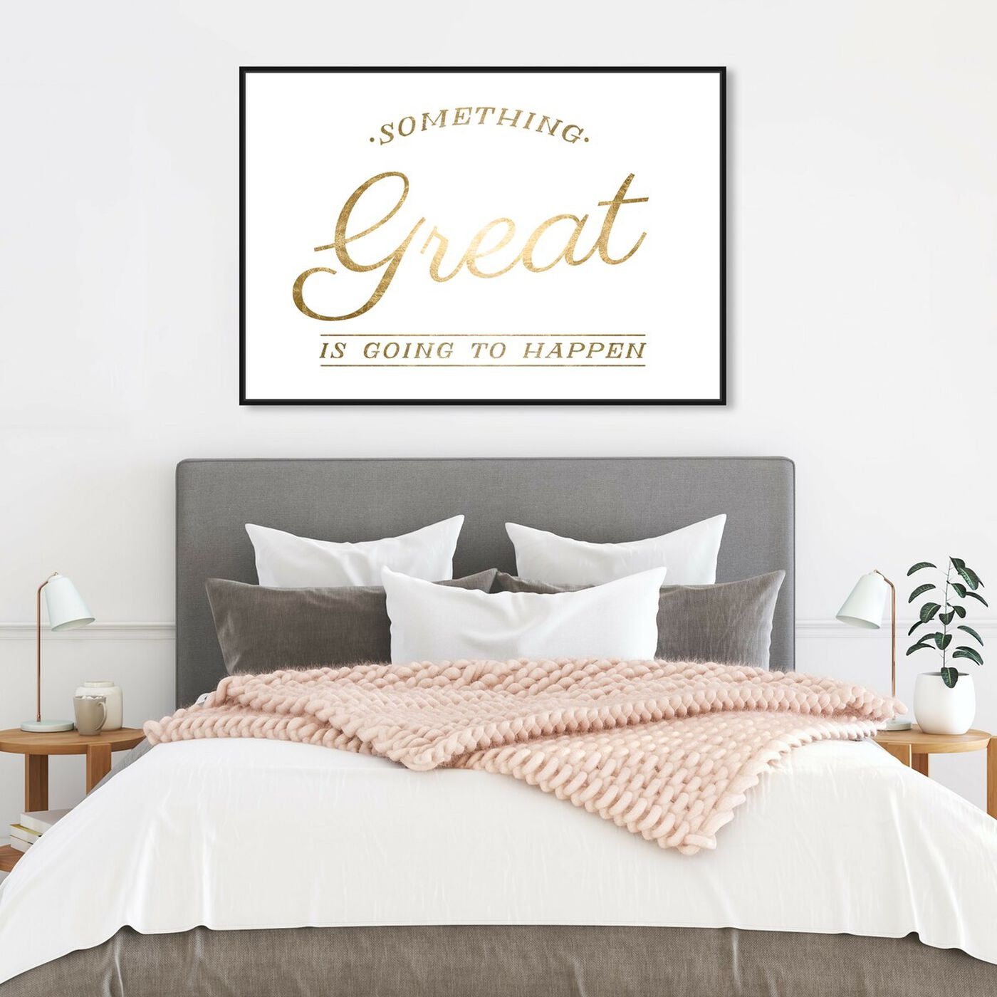 Hanging view of Something Great Gold Foil featuring typography and quotes and motivational quotes and sayings art.