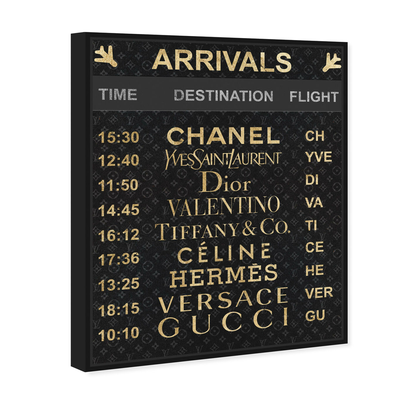 Angled view of Luxe Arrivals featuring fashion and glam and travel essentials art.