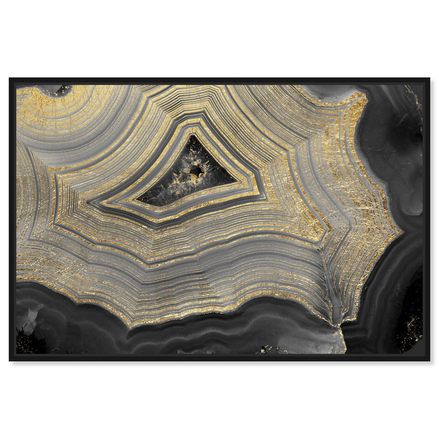 Front view of Dubbio Geode featuring abstract and crystals art.