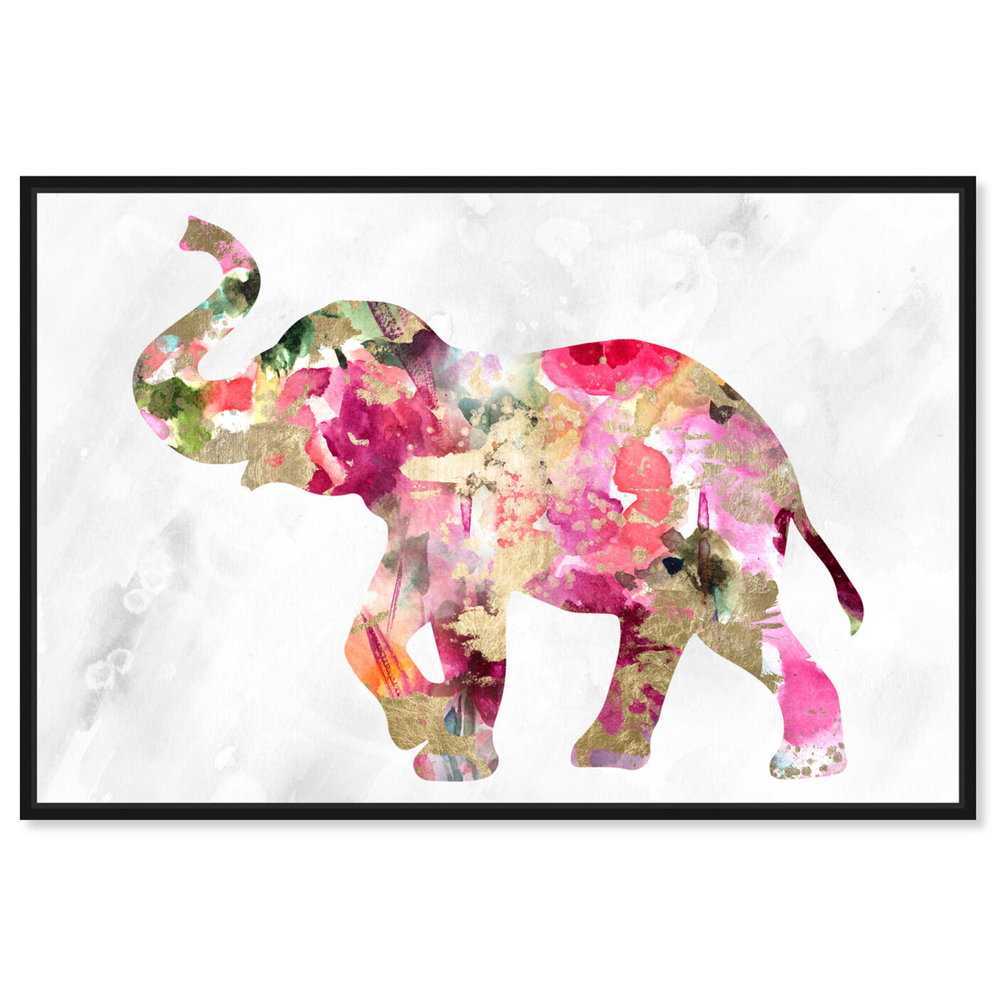 Front view of Elephant Floral featuring animals and zoo and wild animals art.